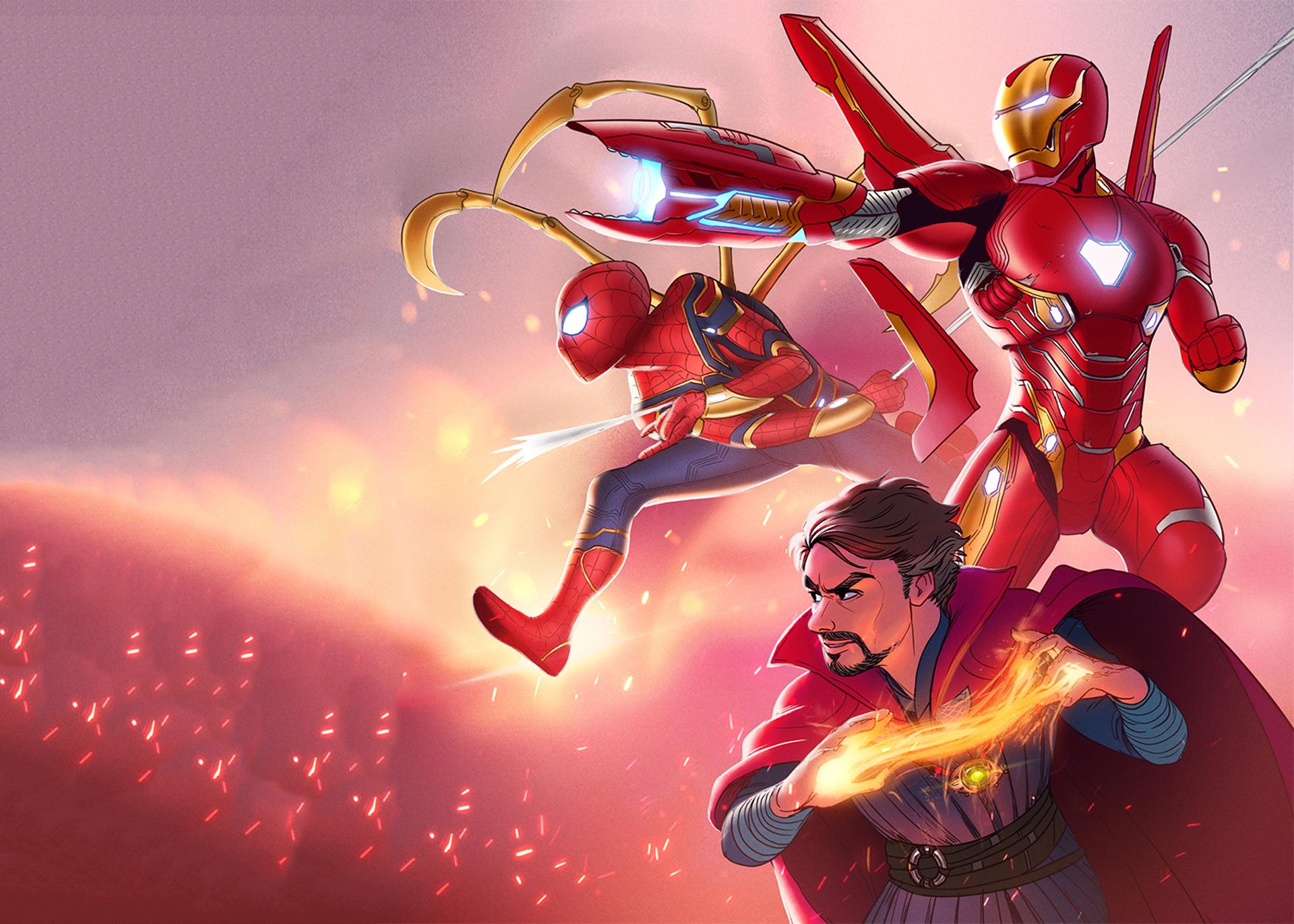 Iron Man Spiderman Doctor Strange Infinity War Hereos