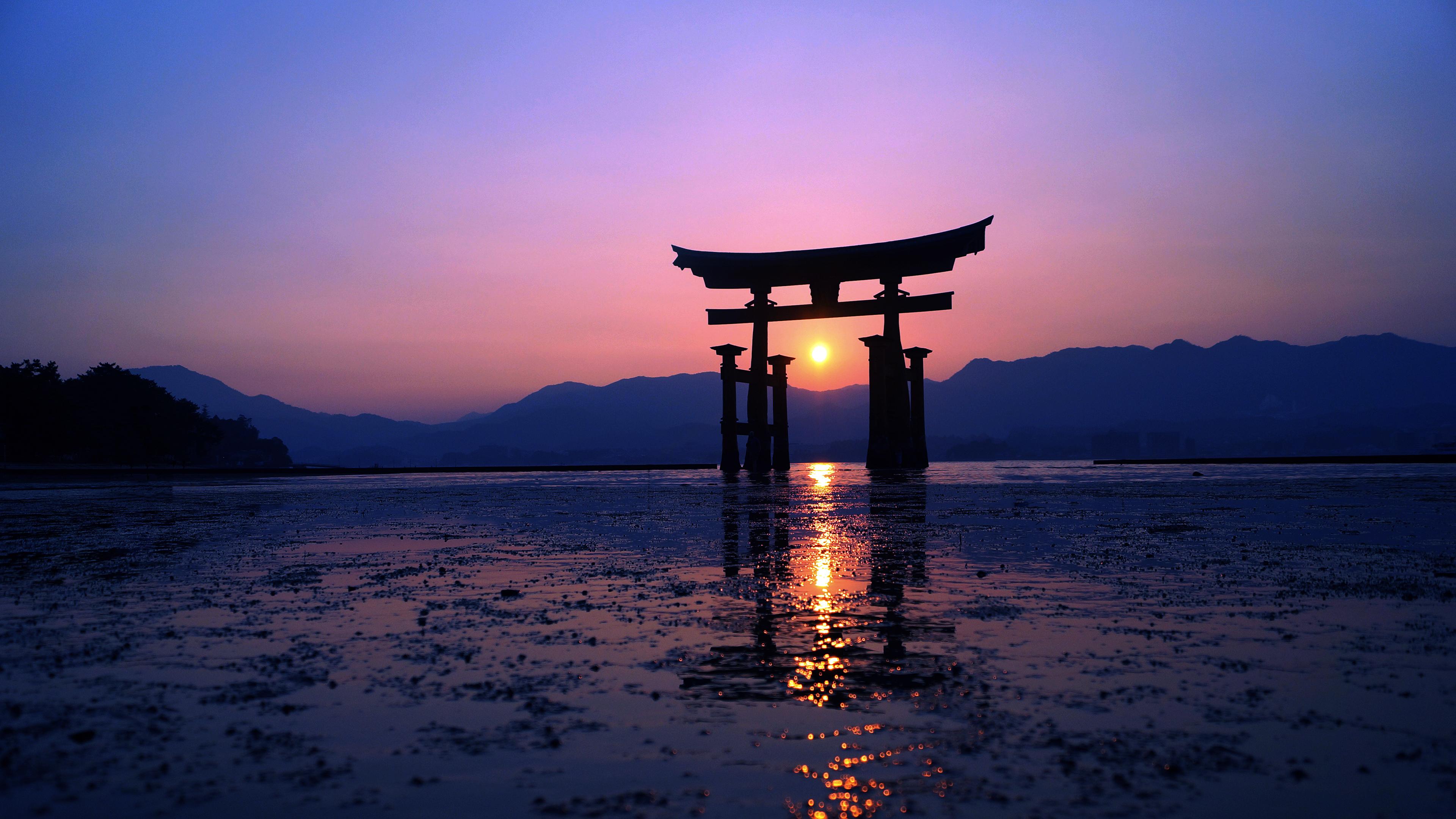 2048x2048 Serene Sunset Ipad Air Hd 4k Wallpapers Images: 2048x2048 Japan Sunset Purple Evening 4k Ipad Air HD 4k