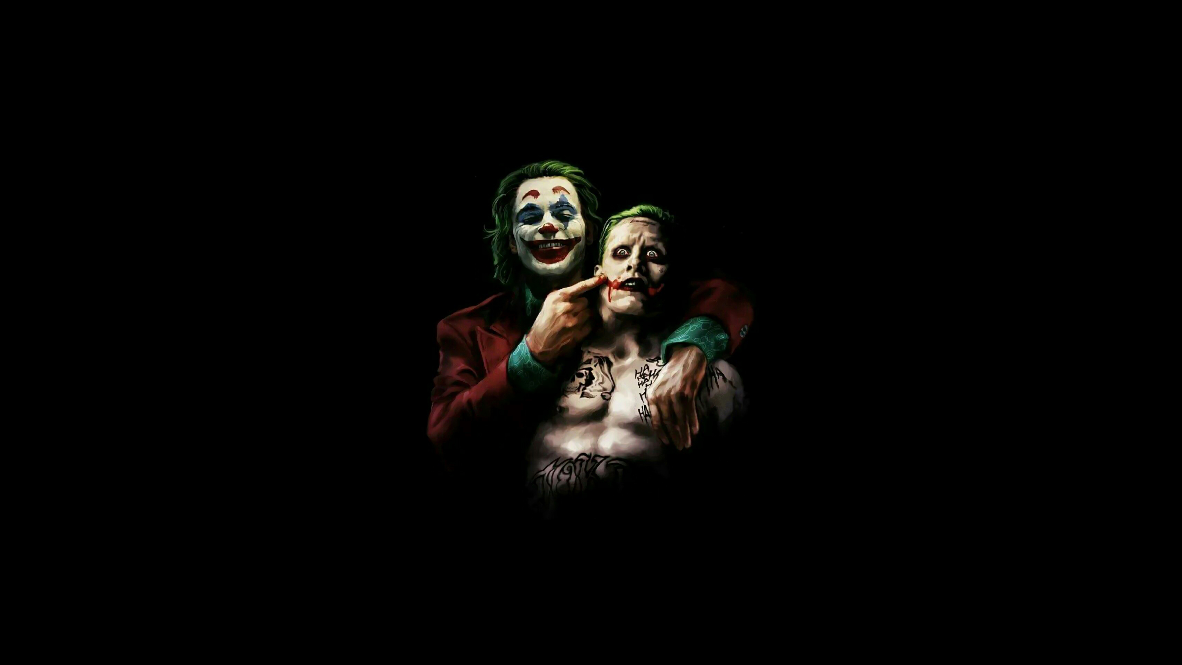 Joaquin Phoenix And Jared Leto As Joker 4k Hd Superheroes