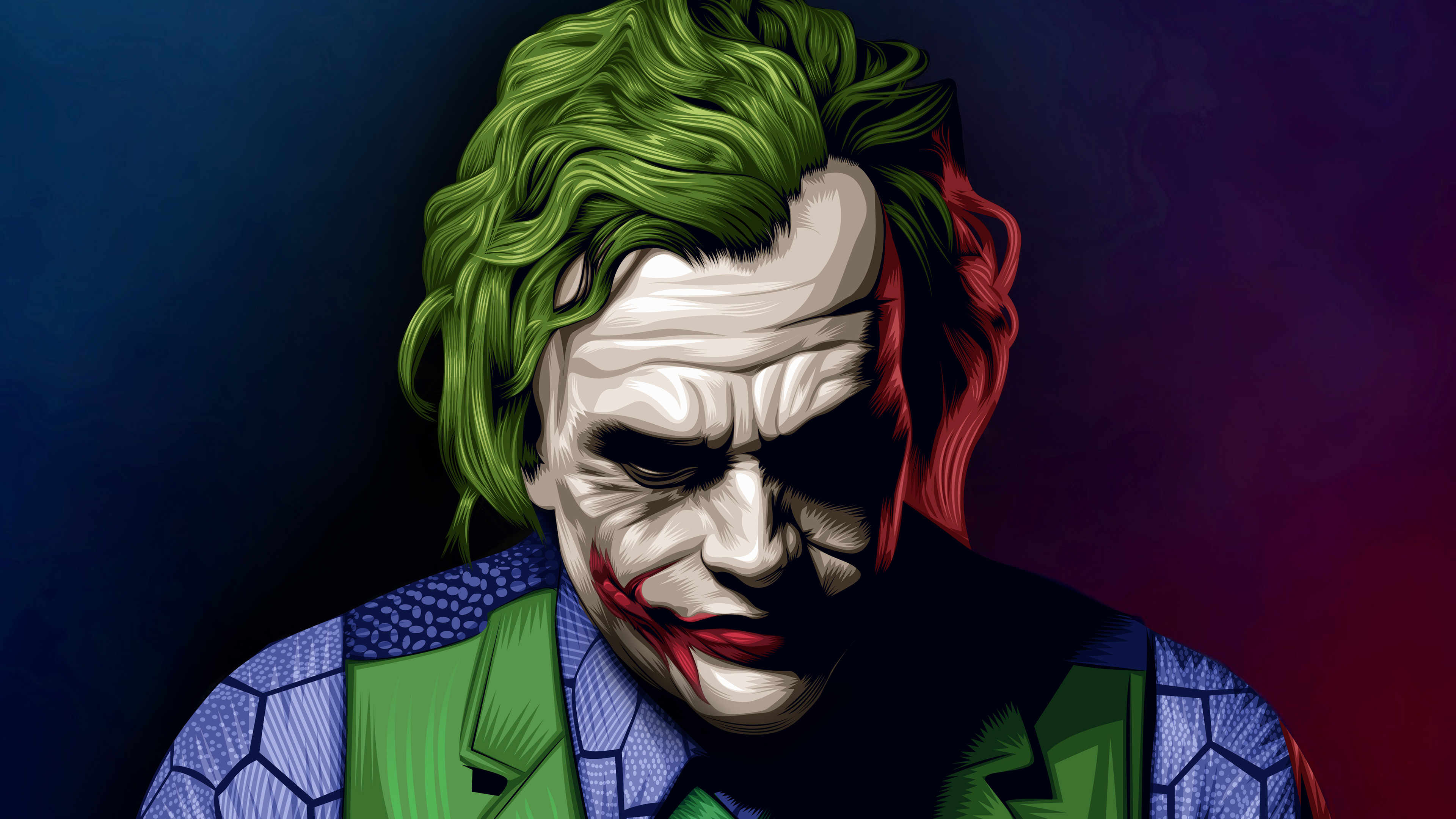 Joker heath ledger illustration hd superheroes 4k for Joker immagini hd