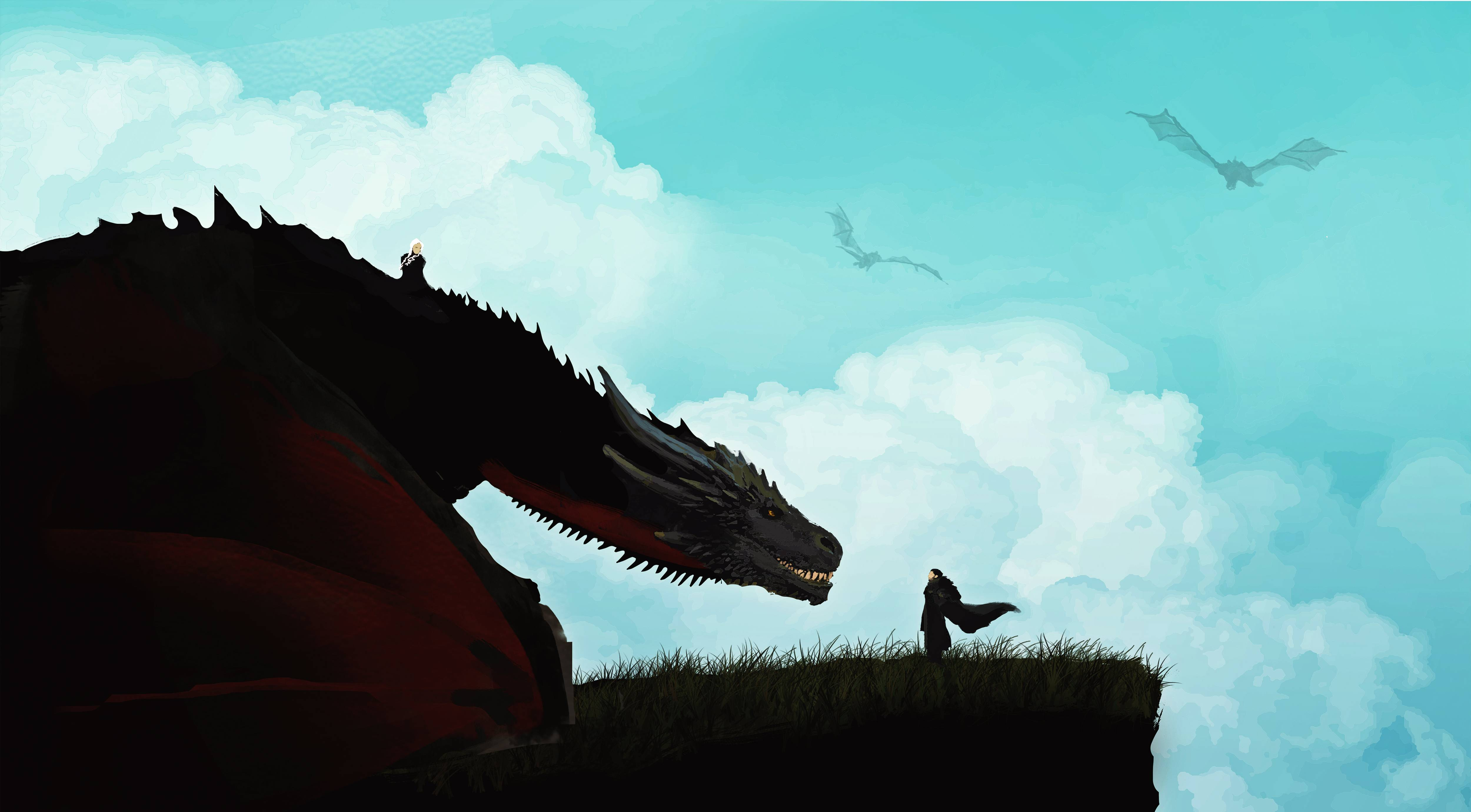 Jon Snow And Khalessi Dragon Artwork