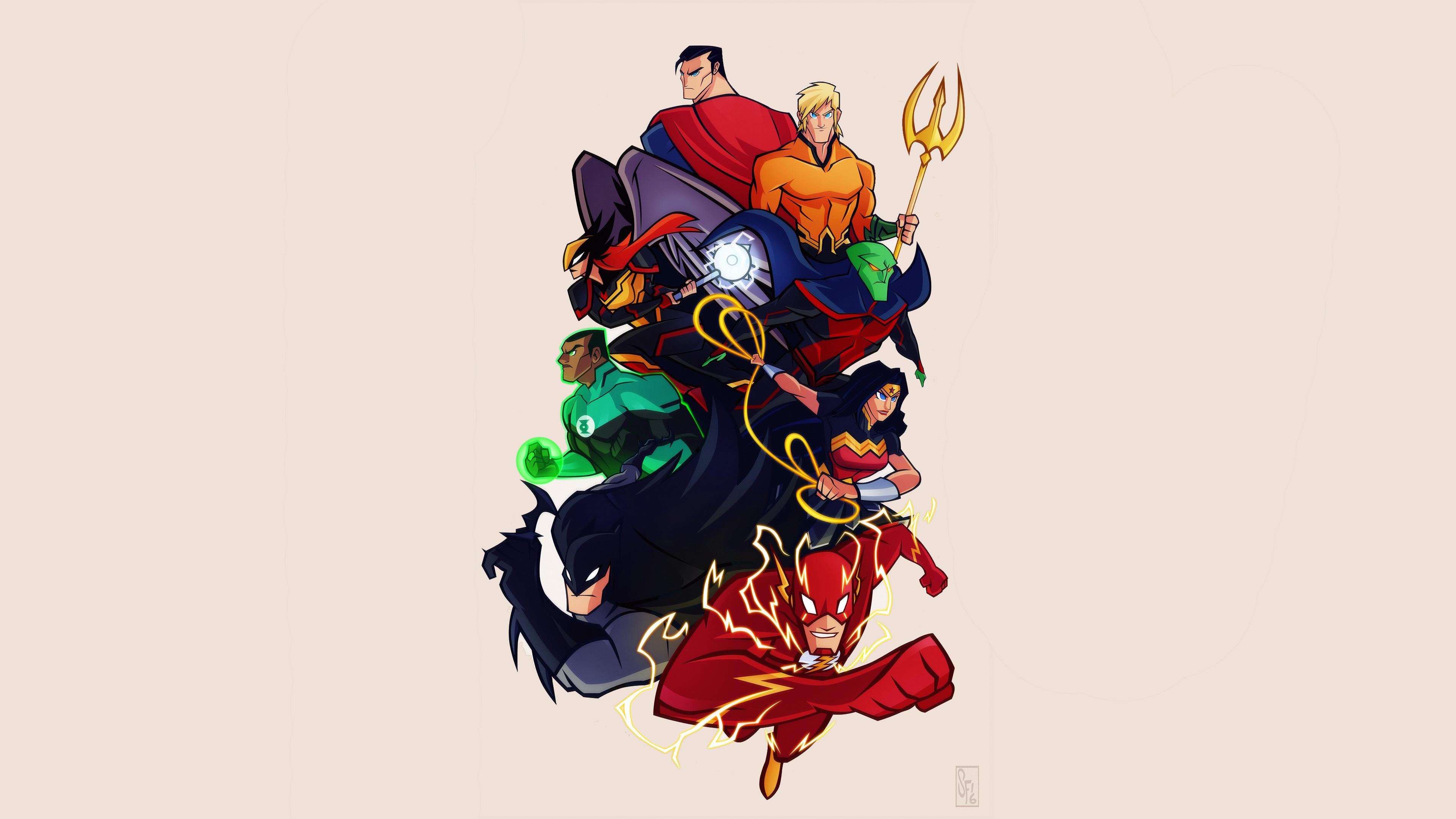 Justice League Cartoon Comic Artwork 4k