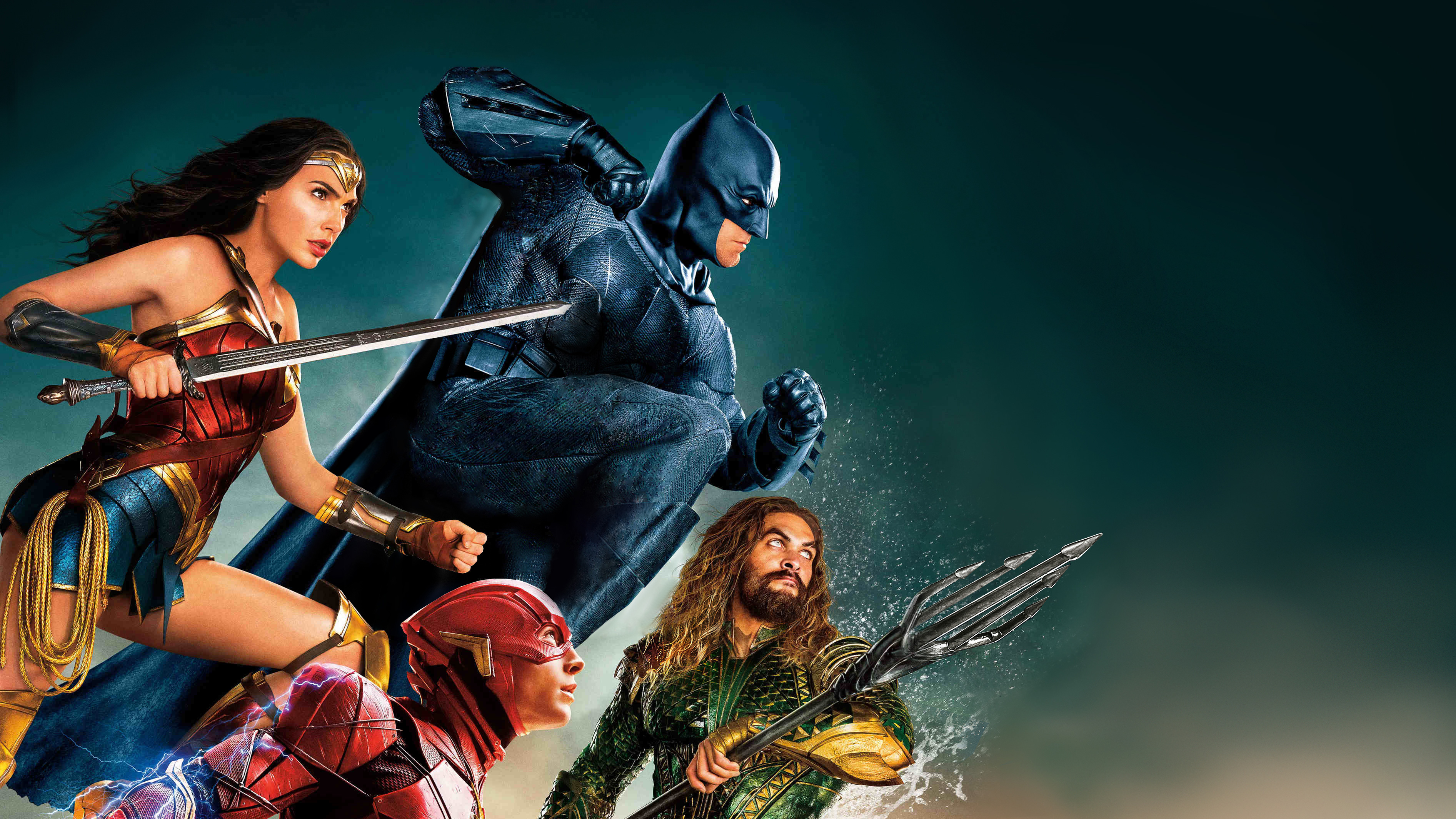 justice league wonder woman batman aquaman flash 4k hd