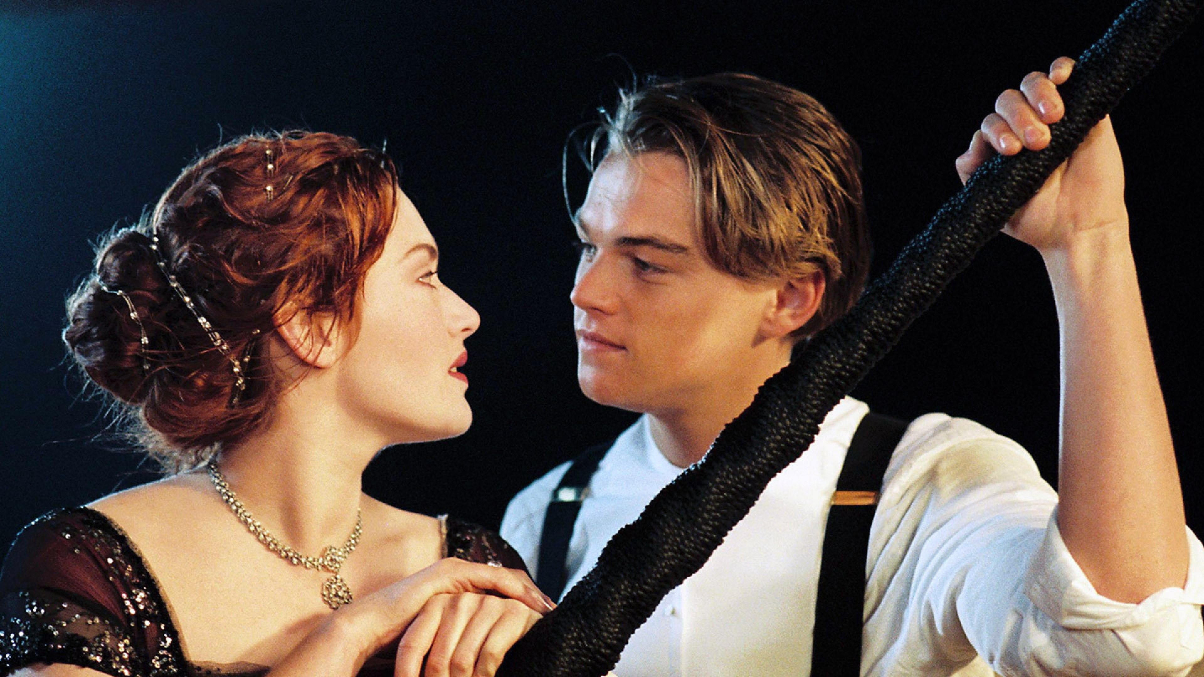 kate winslet and leonardo in titanic movie, hd movies, 4k wallpapers