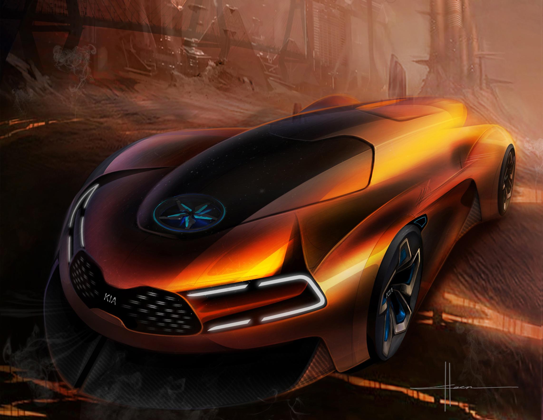 Kia Steam Engine Electric Sports Car, HD Cars, 4k