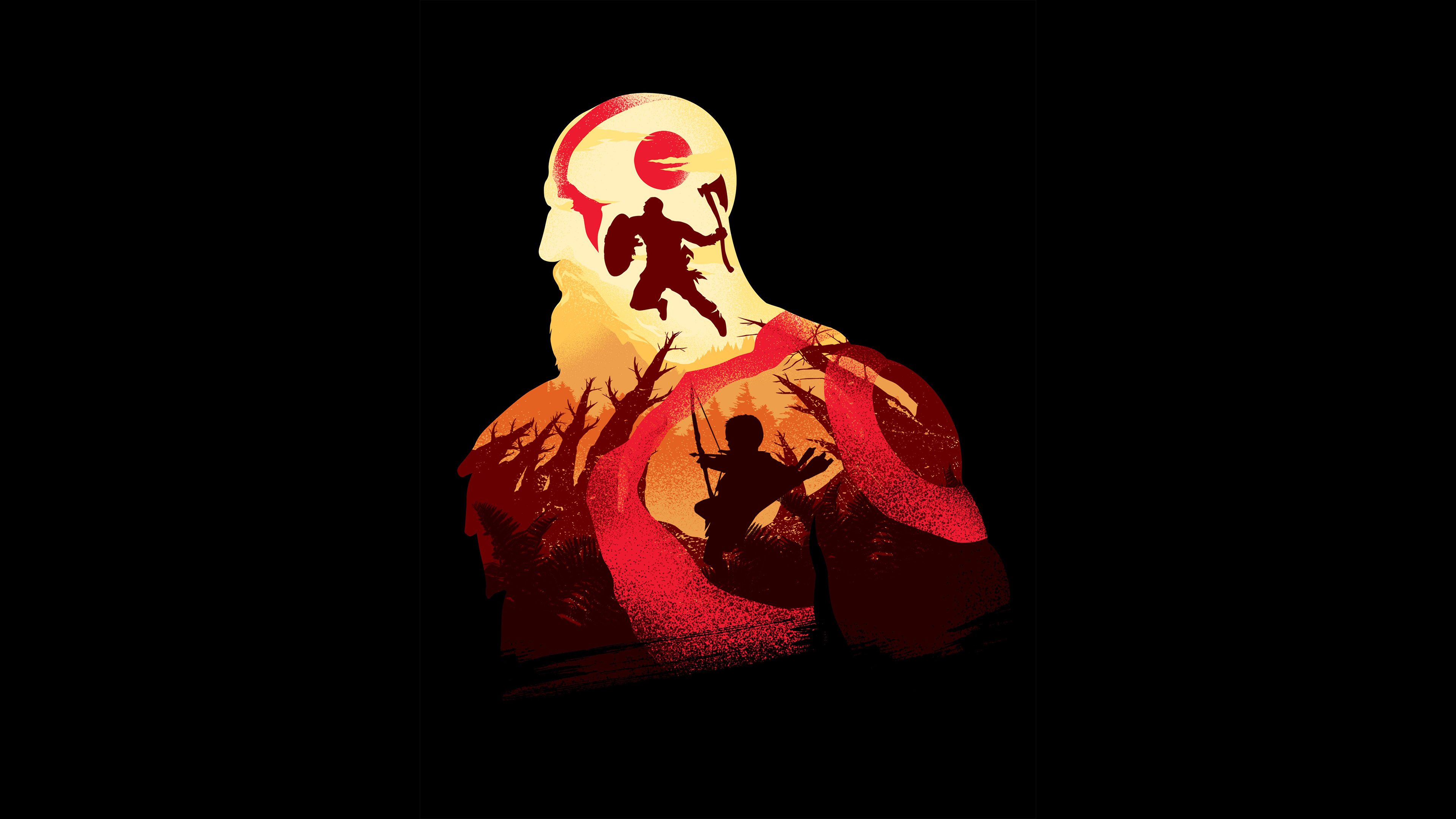 Kratos In God Of War 4K Minimalism, HD Games, 4k ...