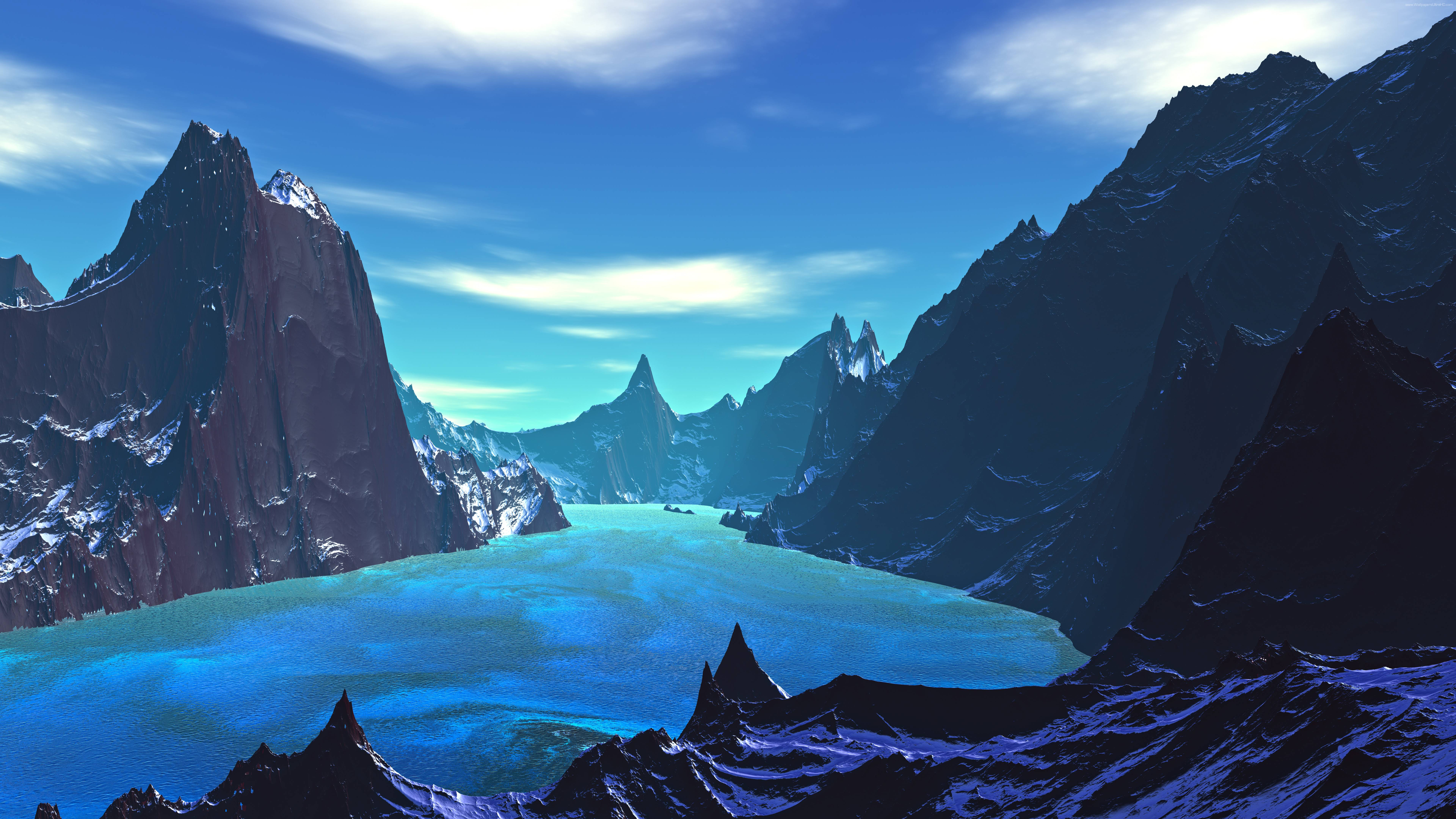 Lake 8k Blue Landscape Artistic, HD Artist, 4k Wallpapers