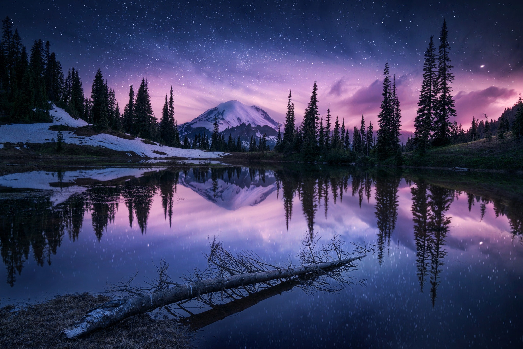 Lake Nature Night Reflection, HD Nature, 4k Wallpapers