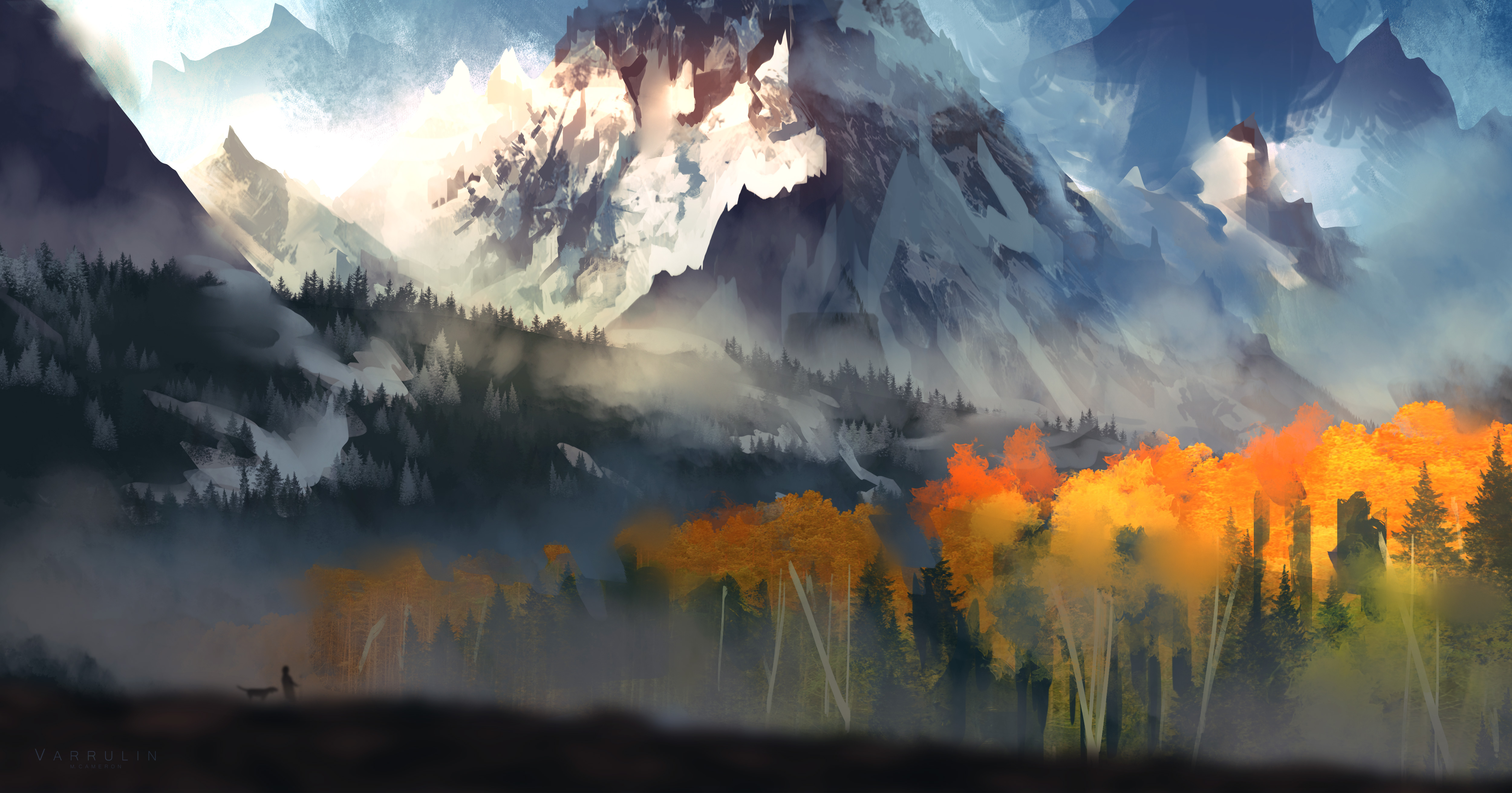 1920x1080 Landscape Scenery Moutain Autumn Digital Art 5k