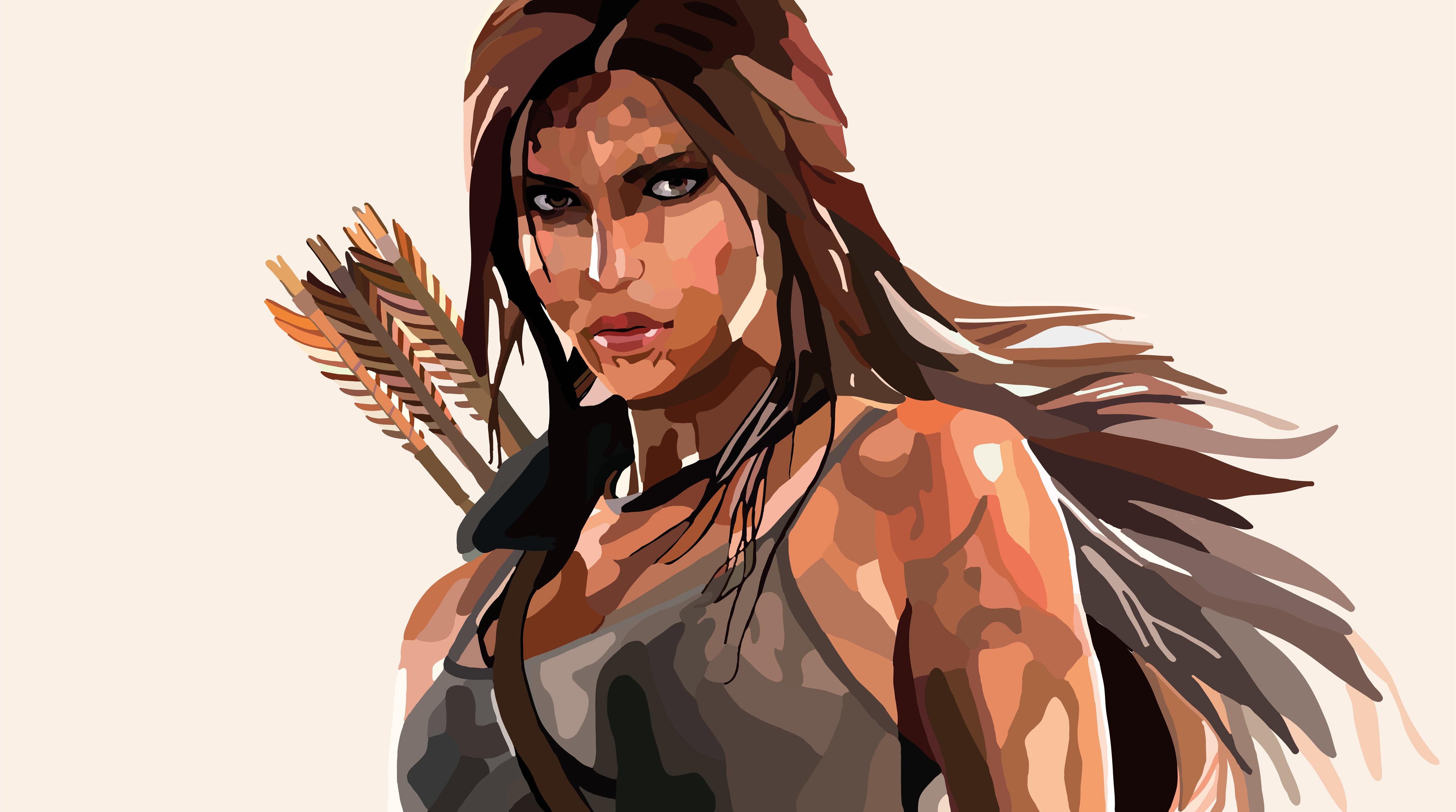 3840x2160 Lara Croft Tomb Raider Artwork 4k Hd 4k: Lara Croft Tomb Raider Vector Art 4k, HD Games, 4k