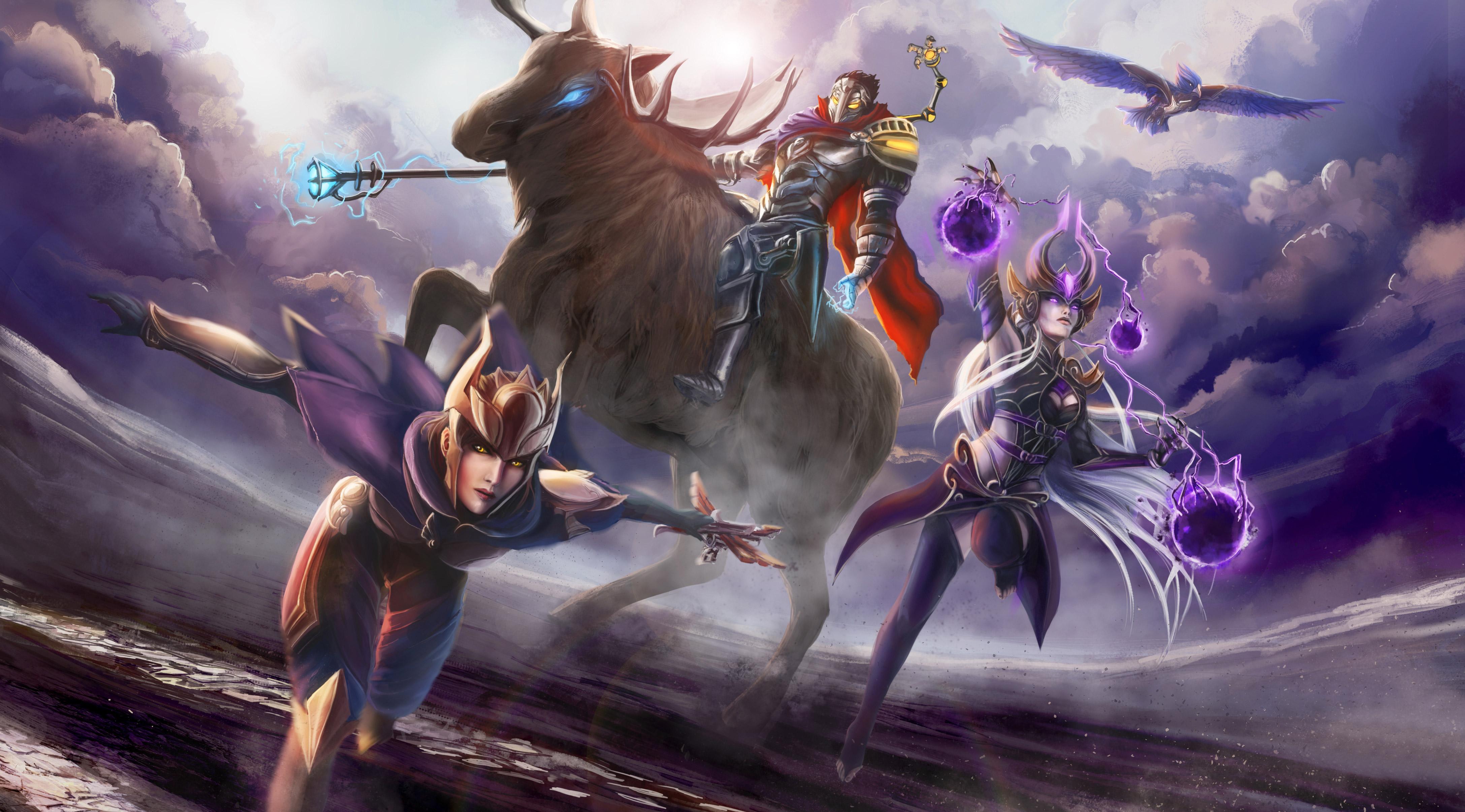 League Of Legends 4k Wallpaper: League Of Legends Shyvana Syndra Viktor, HD Games, 4k