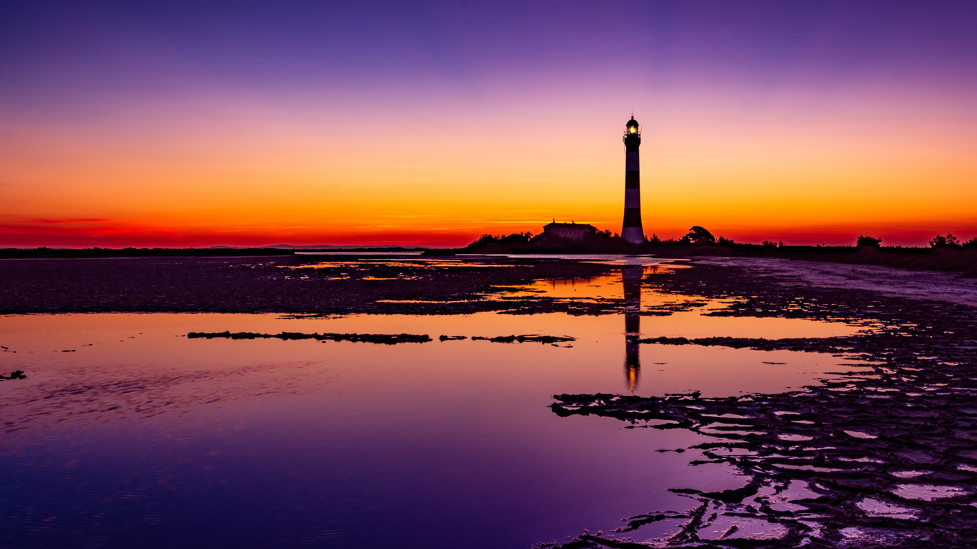 Lighthouse Colorful Sunrise 4k, HD Nature, 4k Wallpapers