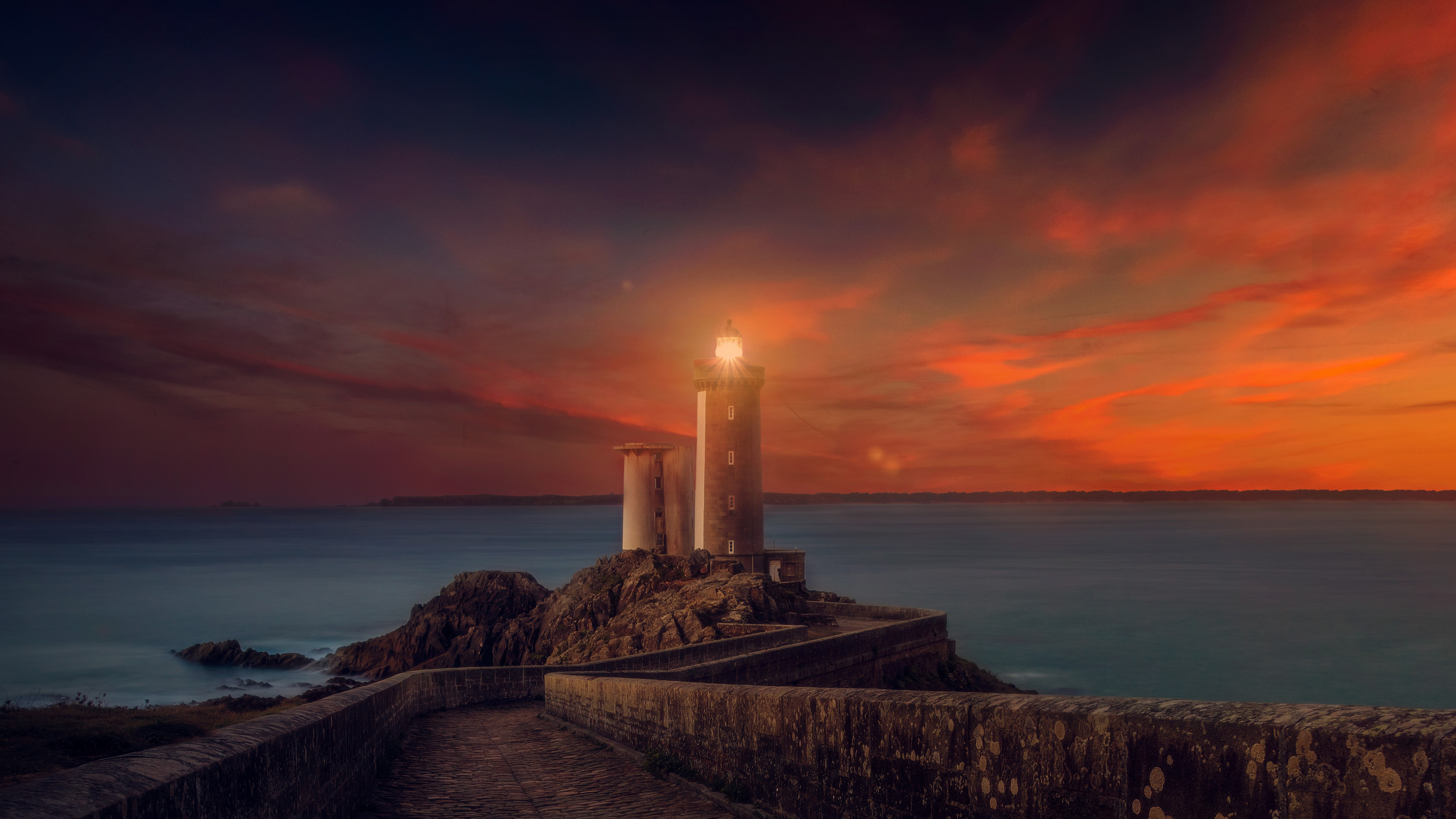 Lighthouse Sunset Scene, HD Nature, 4k Wallpapers, Images