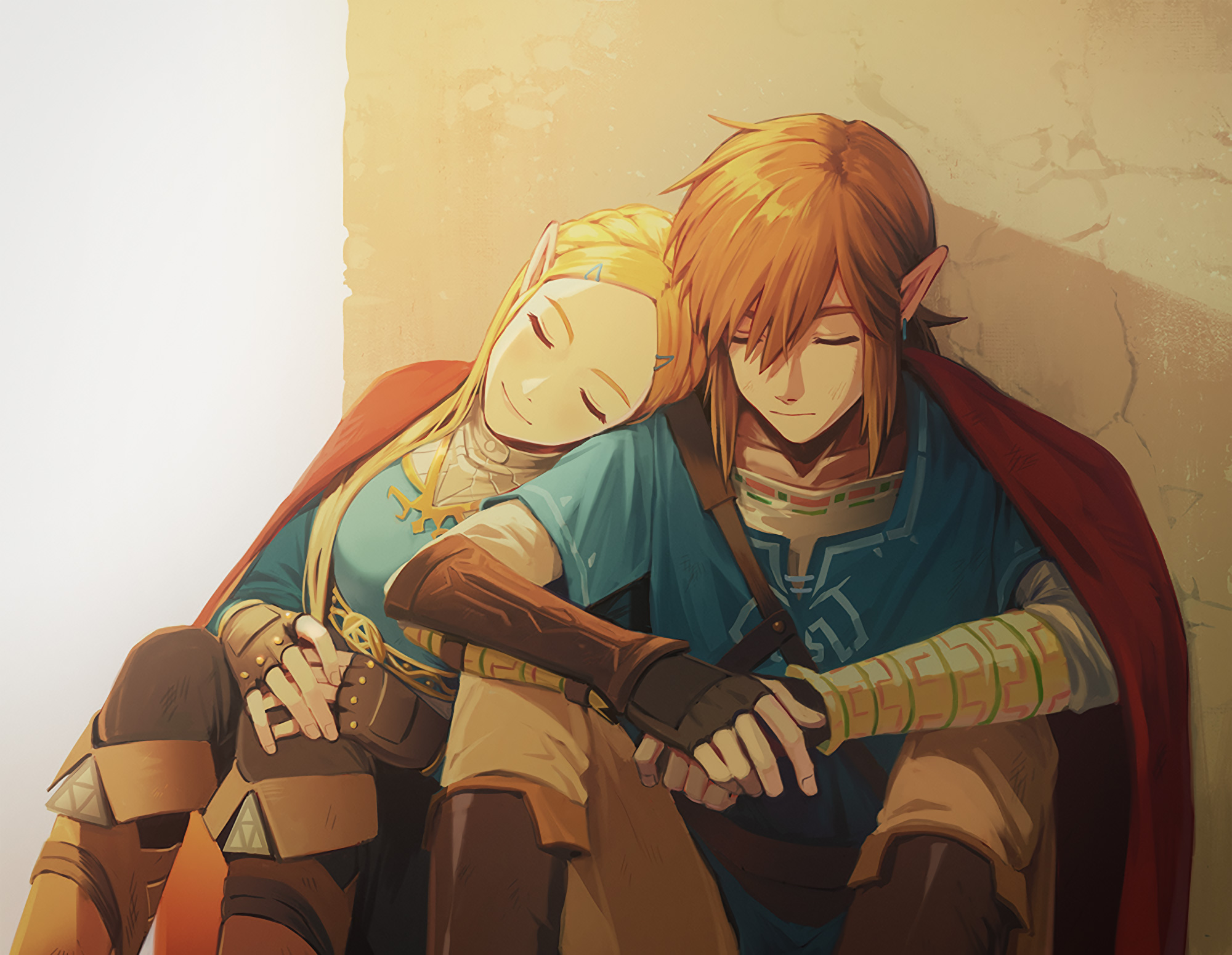 Link And Zelda In The Legend Of Zelda Breath Of The Wild Game