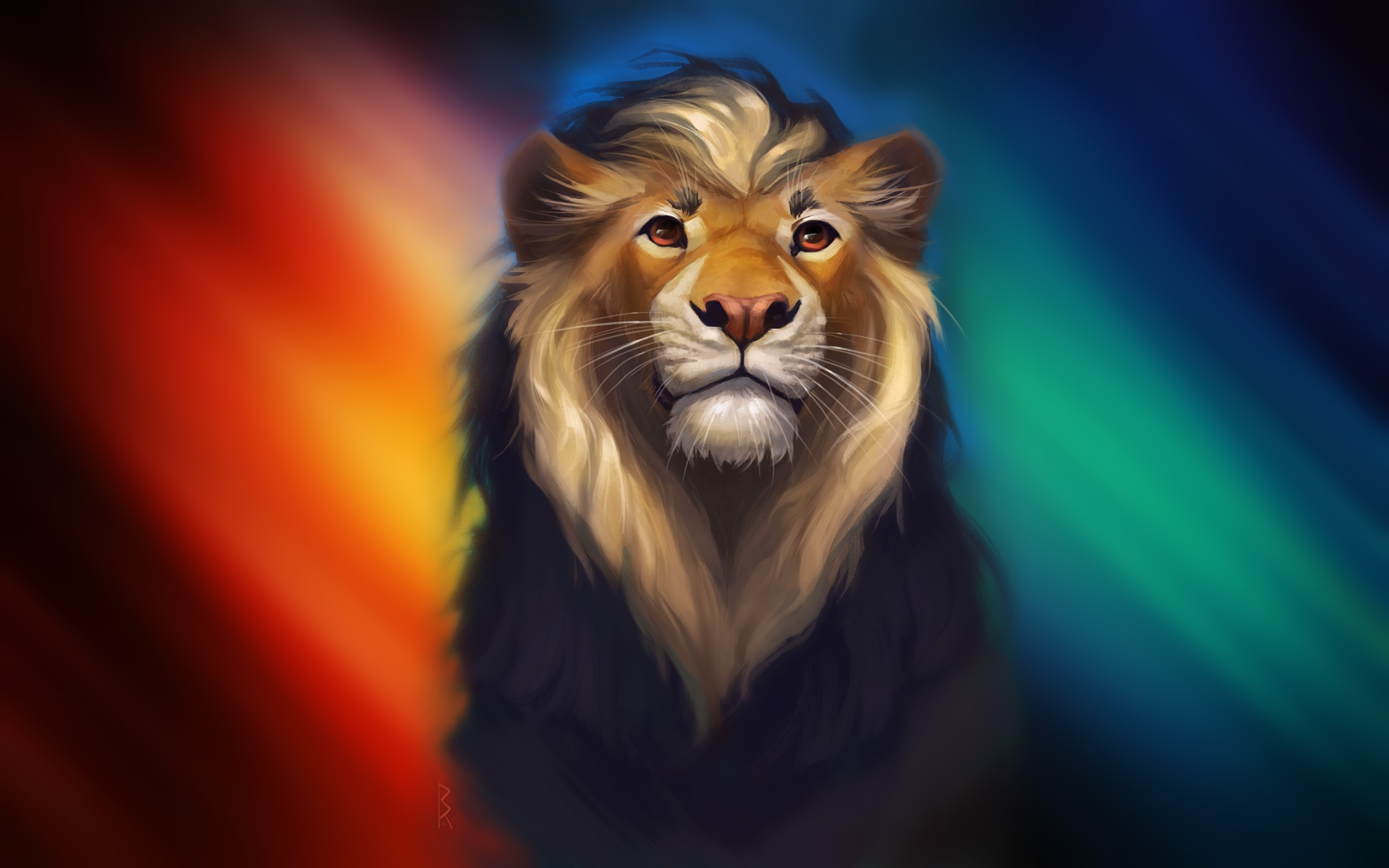Lion Fantasy Colorful Art, HD Animals, 4k Wallpapers