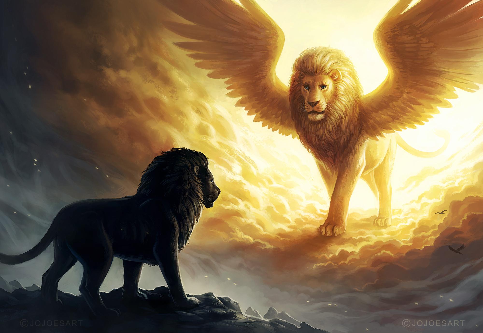 Lion King Spiritual Dark Fantasy, HD Animals, 4k
