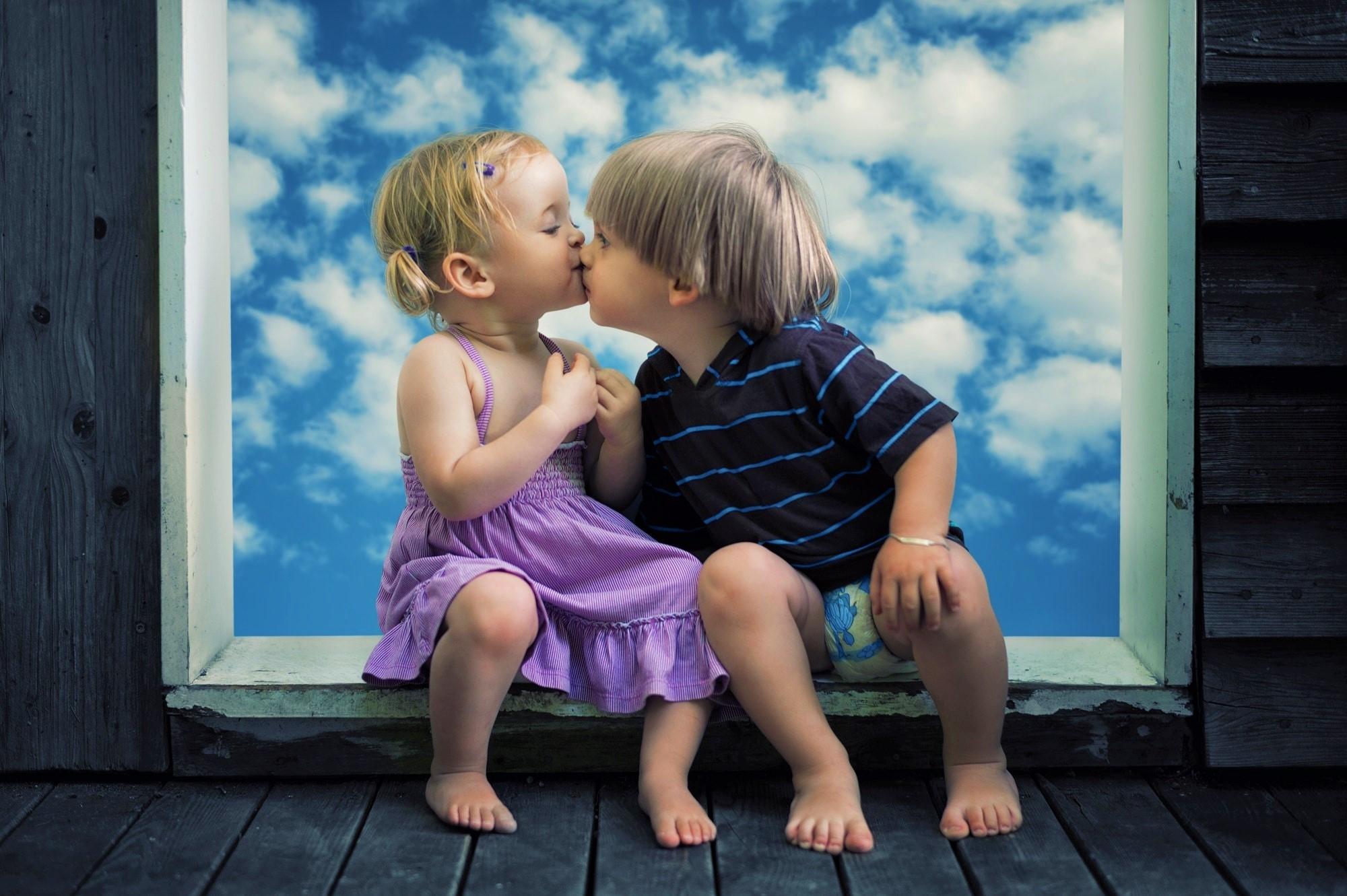 Little Boy Little Girl Cute Kiss, Hd Cute, 4K Wallpapers -7010