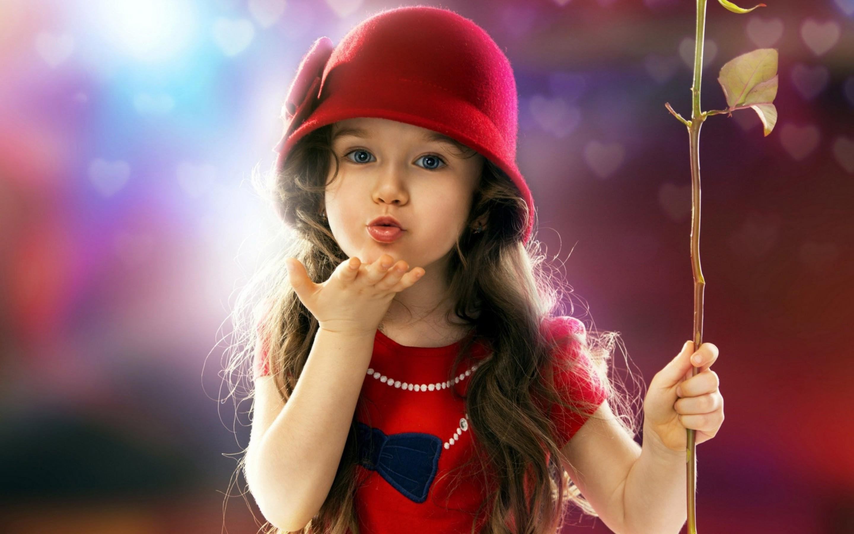 Small child Love Wallpaper : Little Girl Blowing a Kiss, HD cute, 4k Wallpapers, Images, Backgrounds, Photos and Pictures