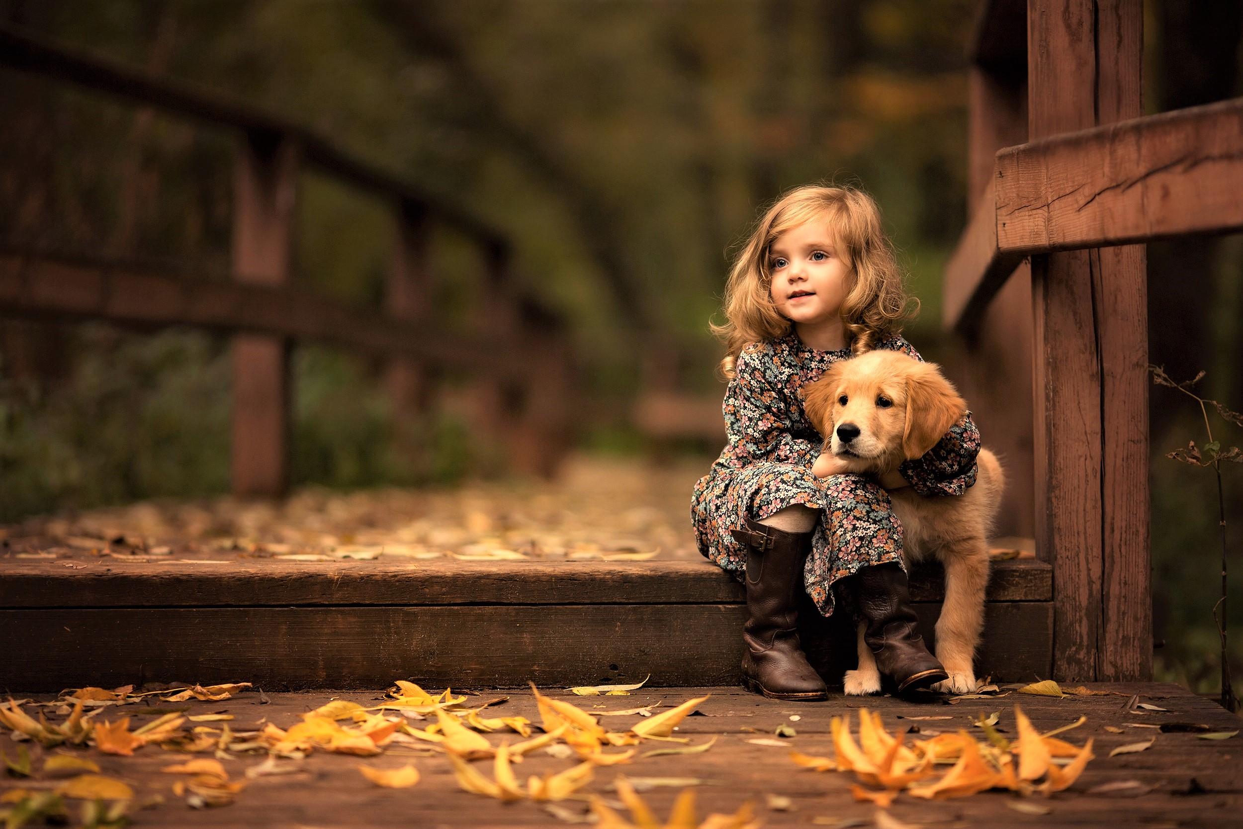 1280x2120 Little Girl With Golden Retriever Puppy Iphone 6 Hd 4k