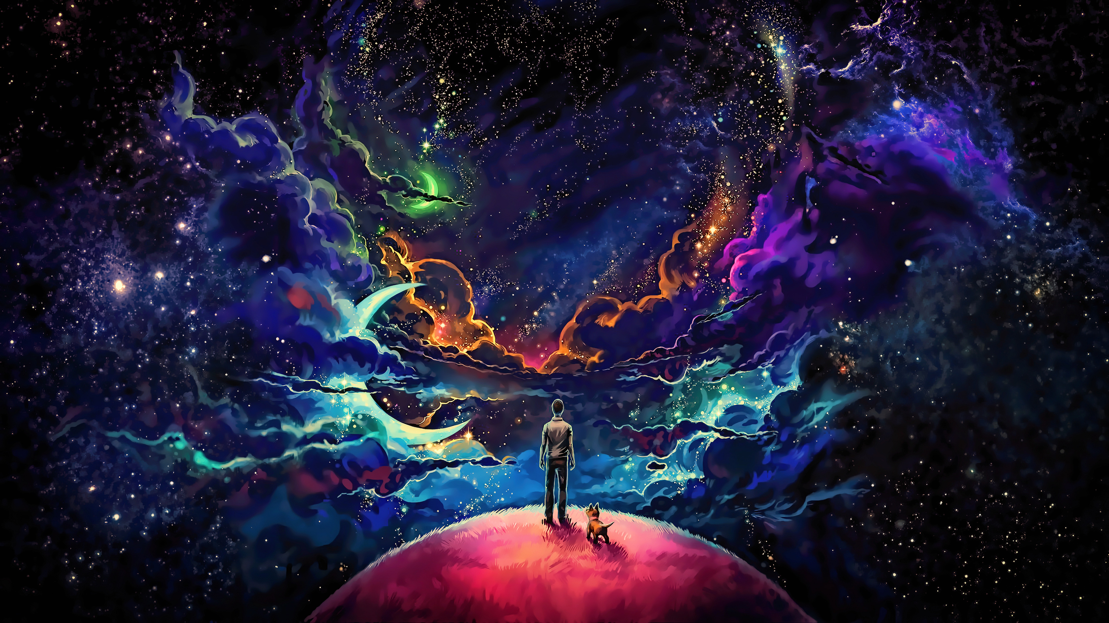 Little prince with dog colorful science fiction fantasy - Art wallpaper 2160x3840 ...