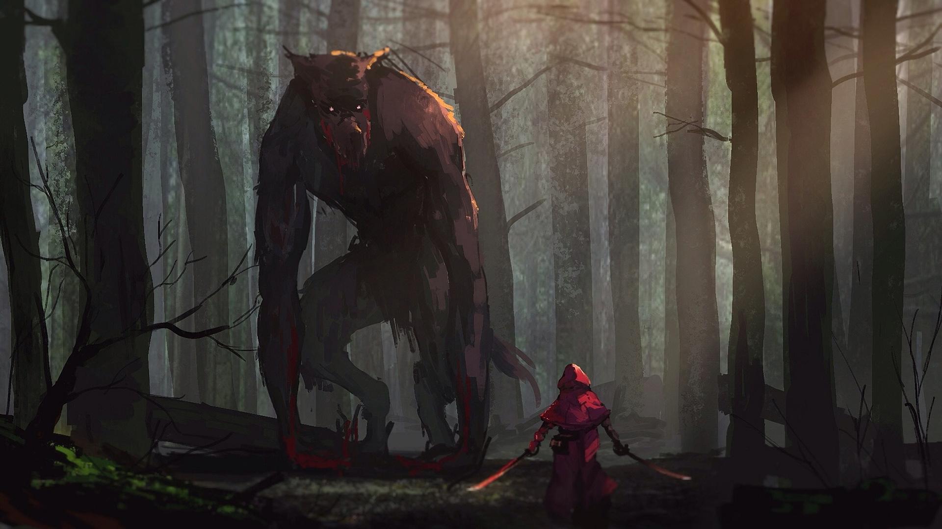 Little Red Riding Hood Vs Werewolves Fairy Tale Artwork