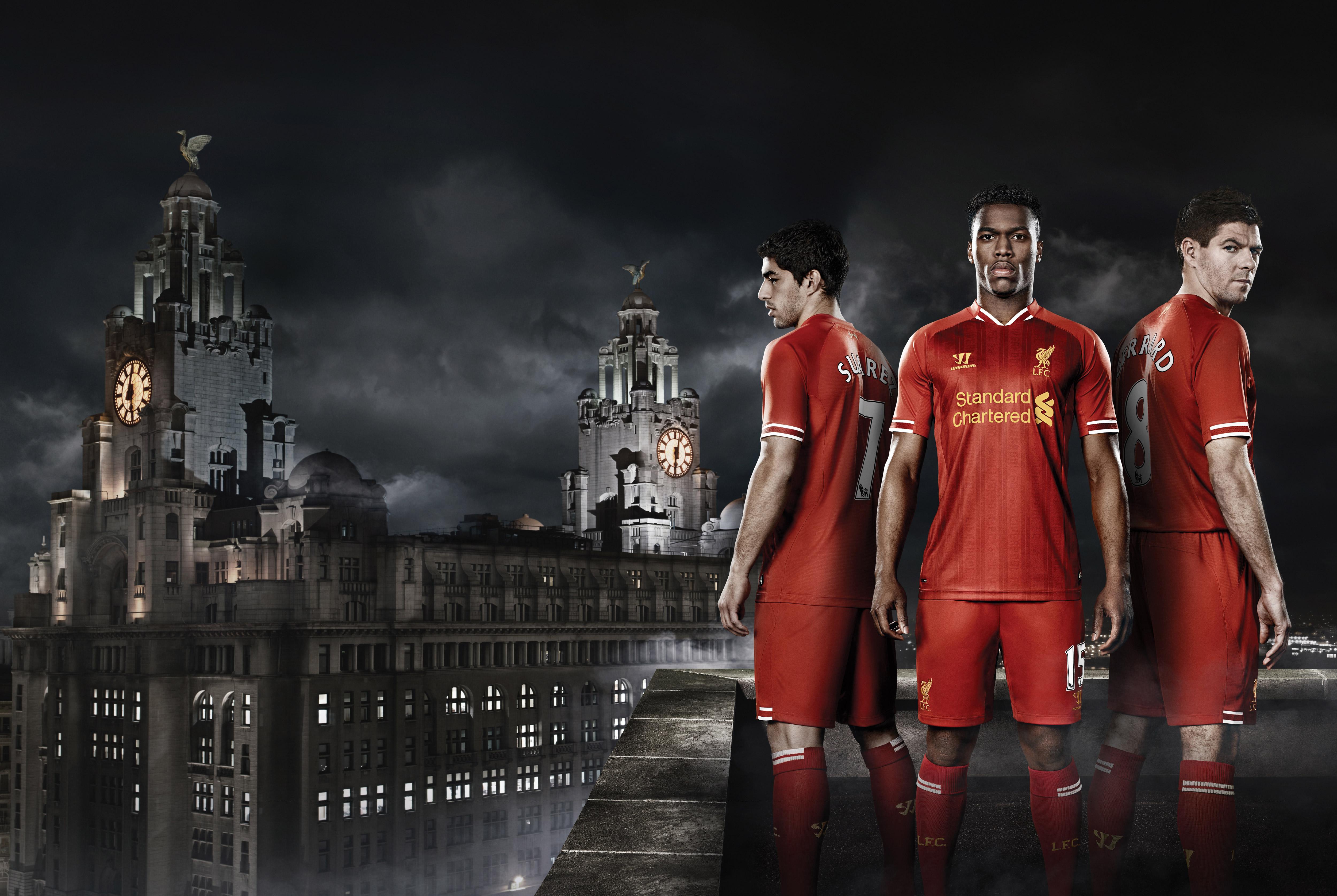 Liverpool FC Daniel Sturridge Luis Suarez Steven Gerrard (1366x768 Resolution)