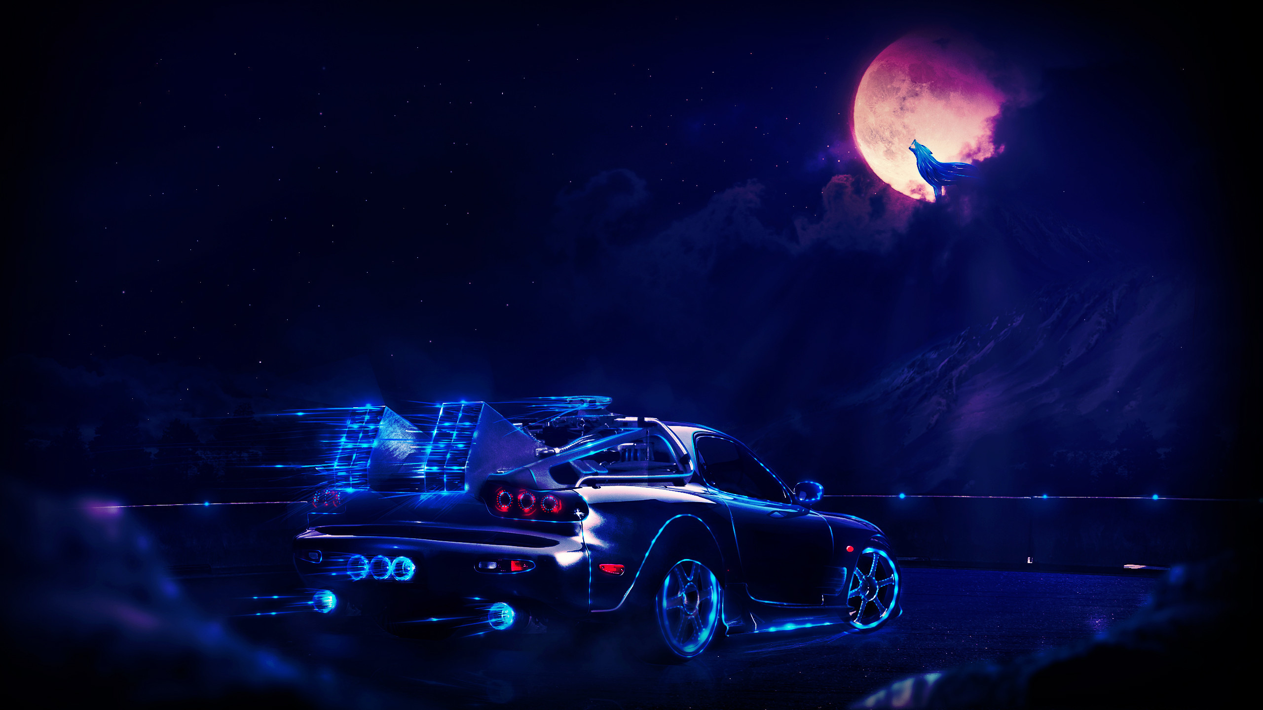 madza rx7 neon wolf night artwork hd artist 4k wallpapers images