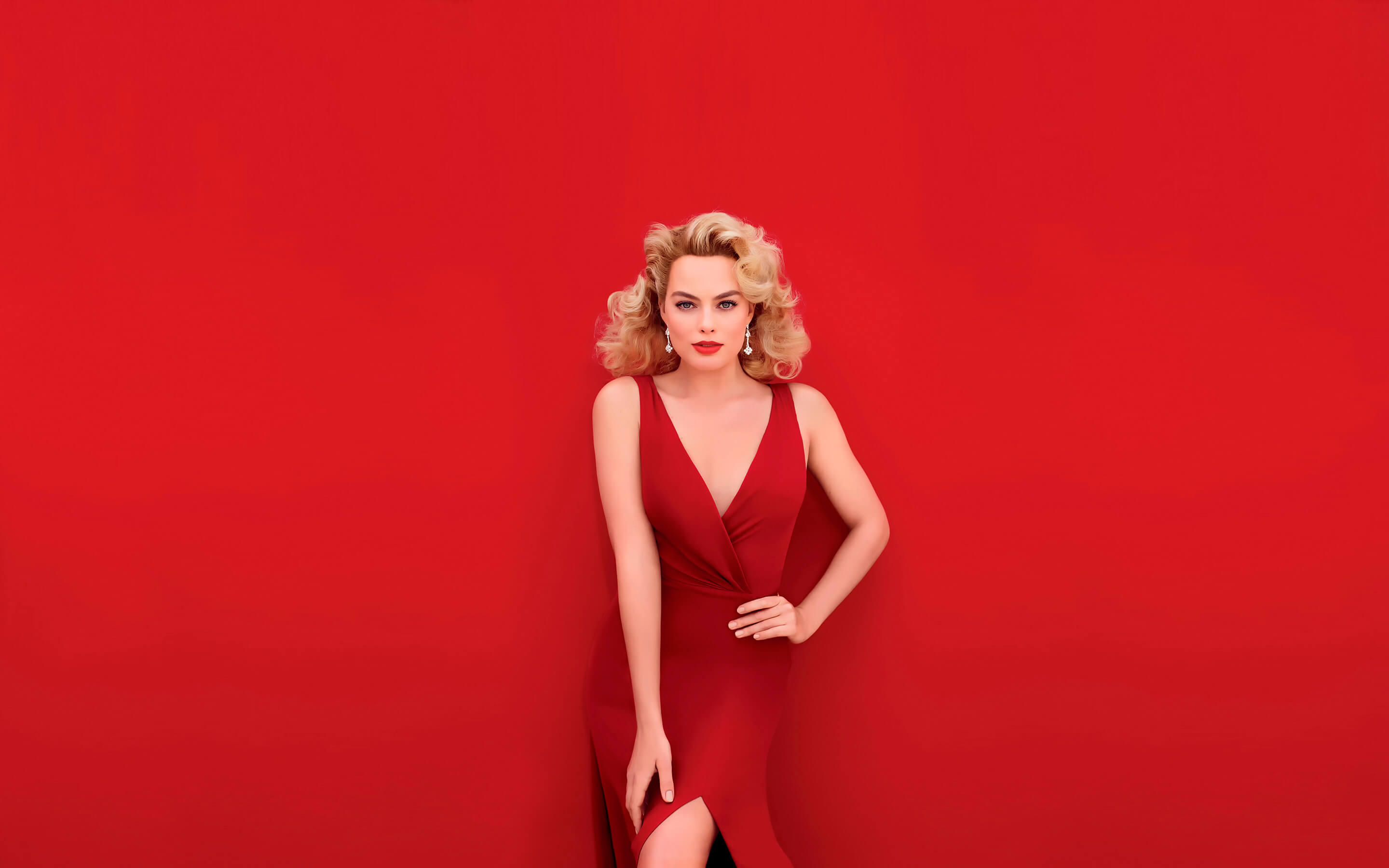 54488ac7c1 2048x1152 Margot Robbie In Red Dress 2048x1152 Resolution HD 4k ...