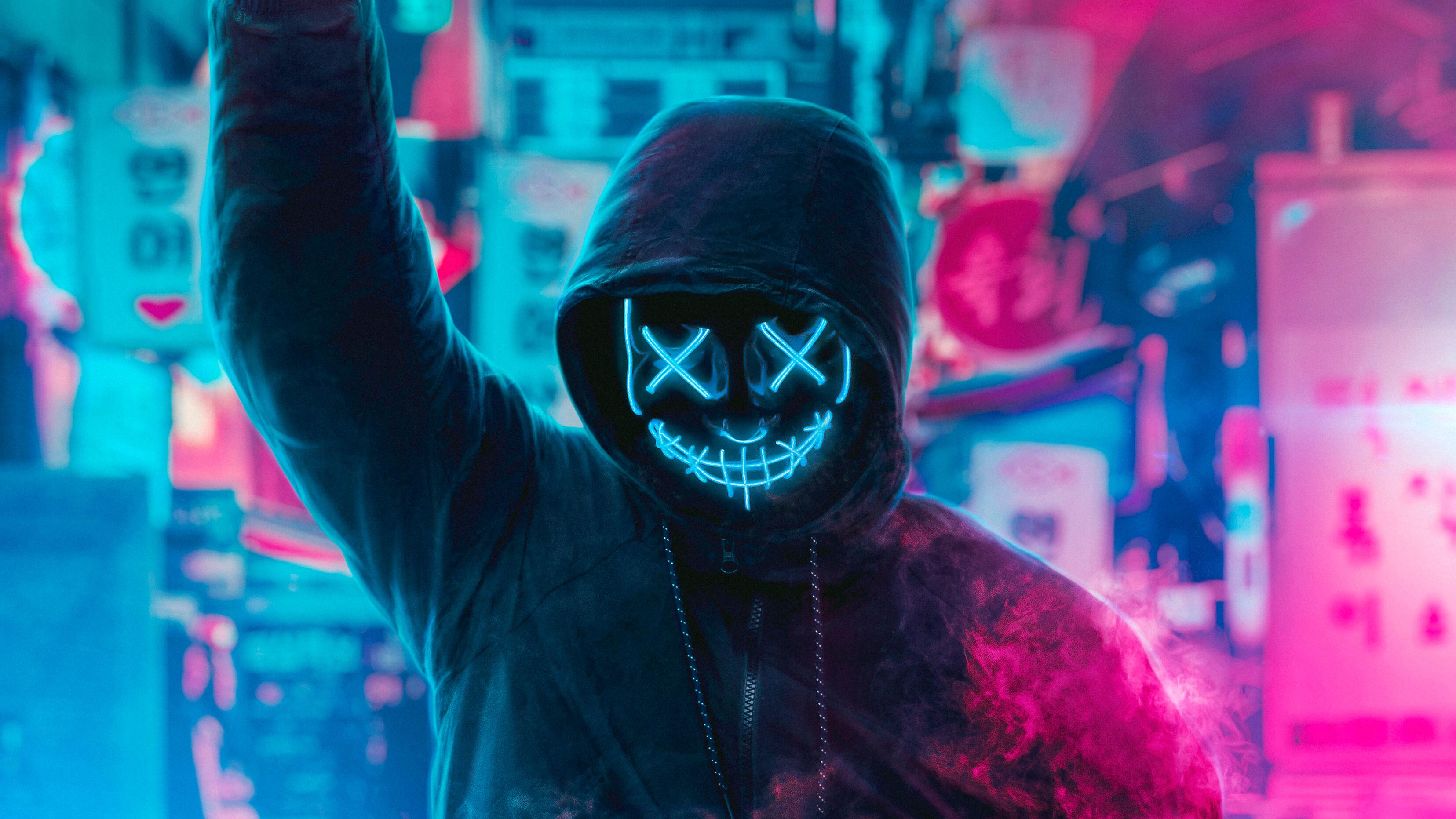 Mask Guy Neon Eye Hd Artist 4k Wallpapers Images