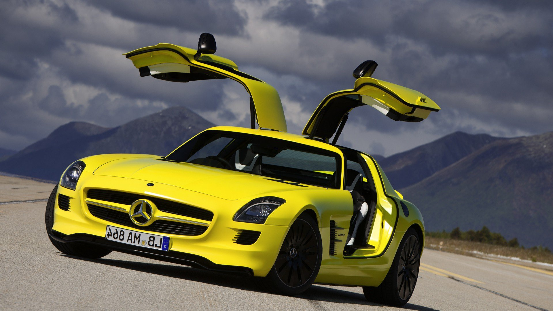 mercedes benz sls amg yellow, hd cars, 4k wallpapers, images