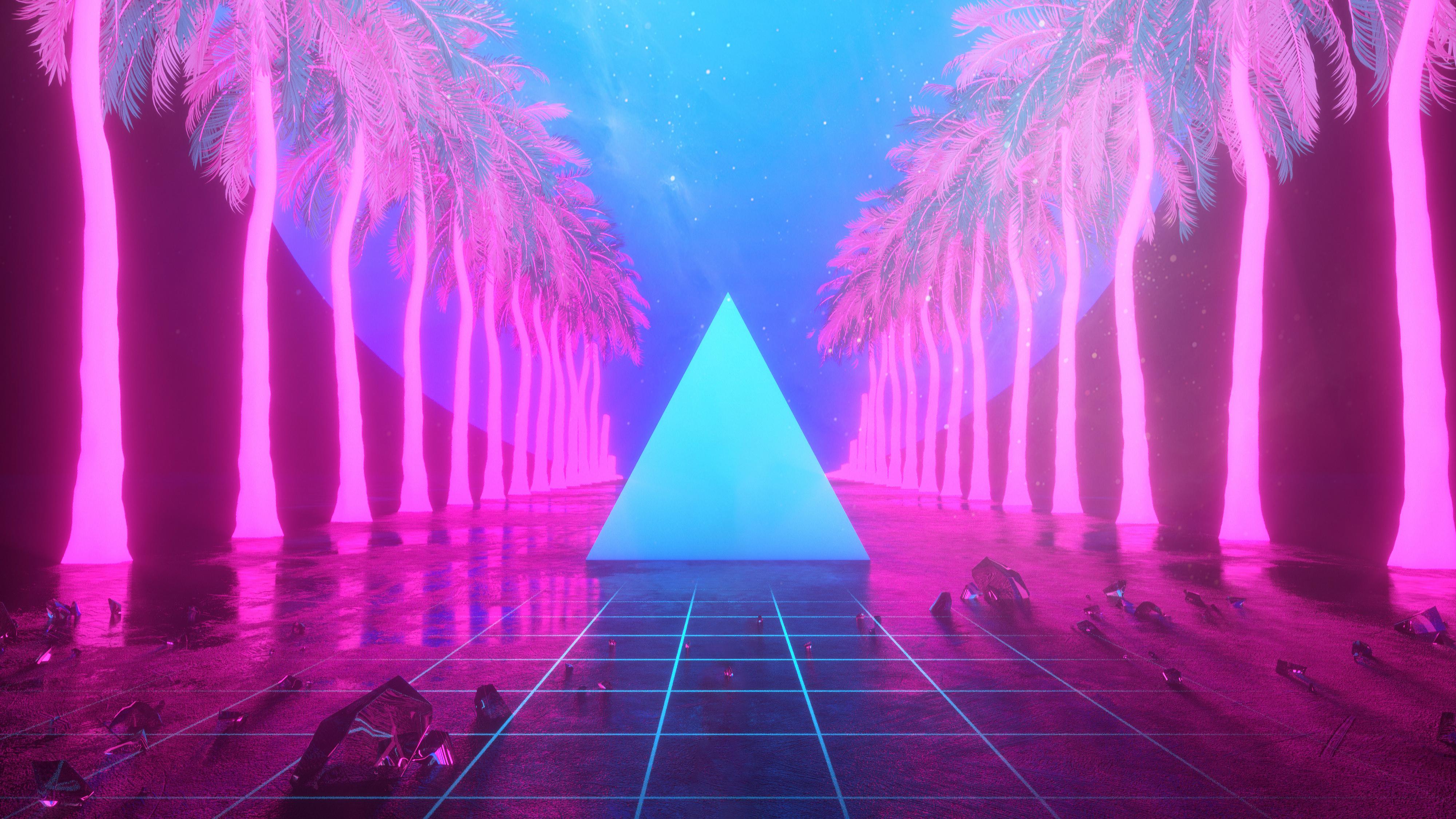 Miami Trees Triangle Neon Artwork 4k