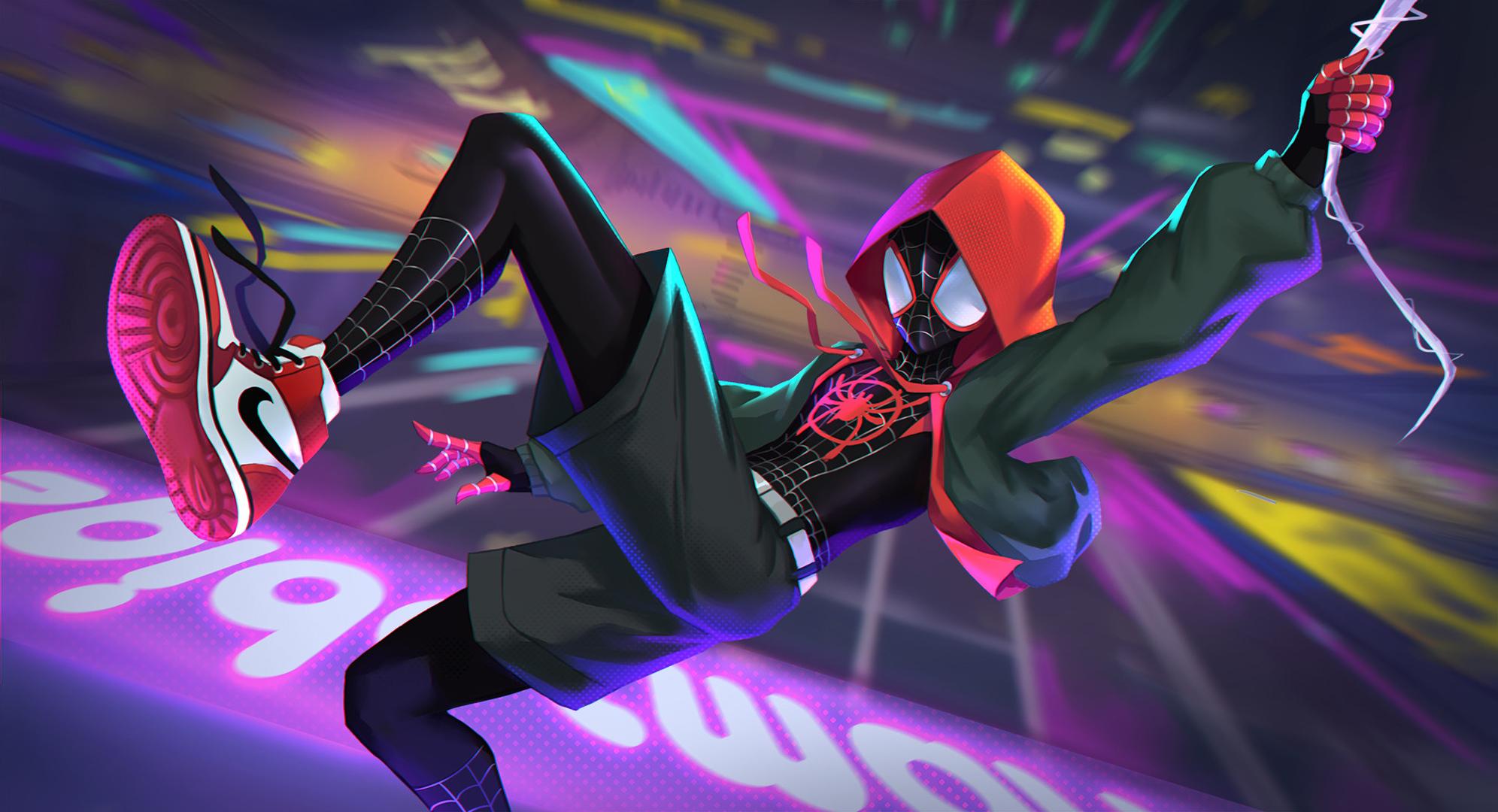 Miles Morales Jumping, HD Superheroes, 4k Wallpapers ...