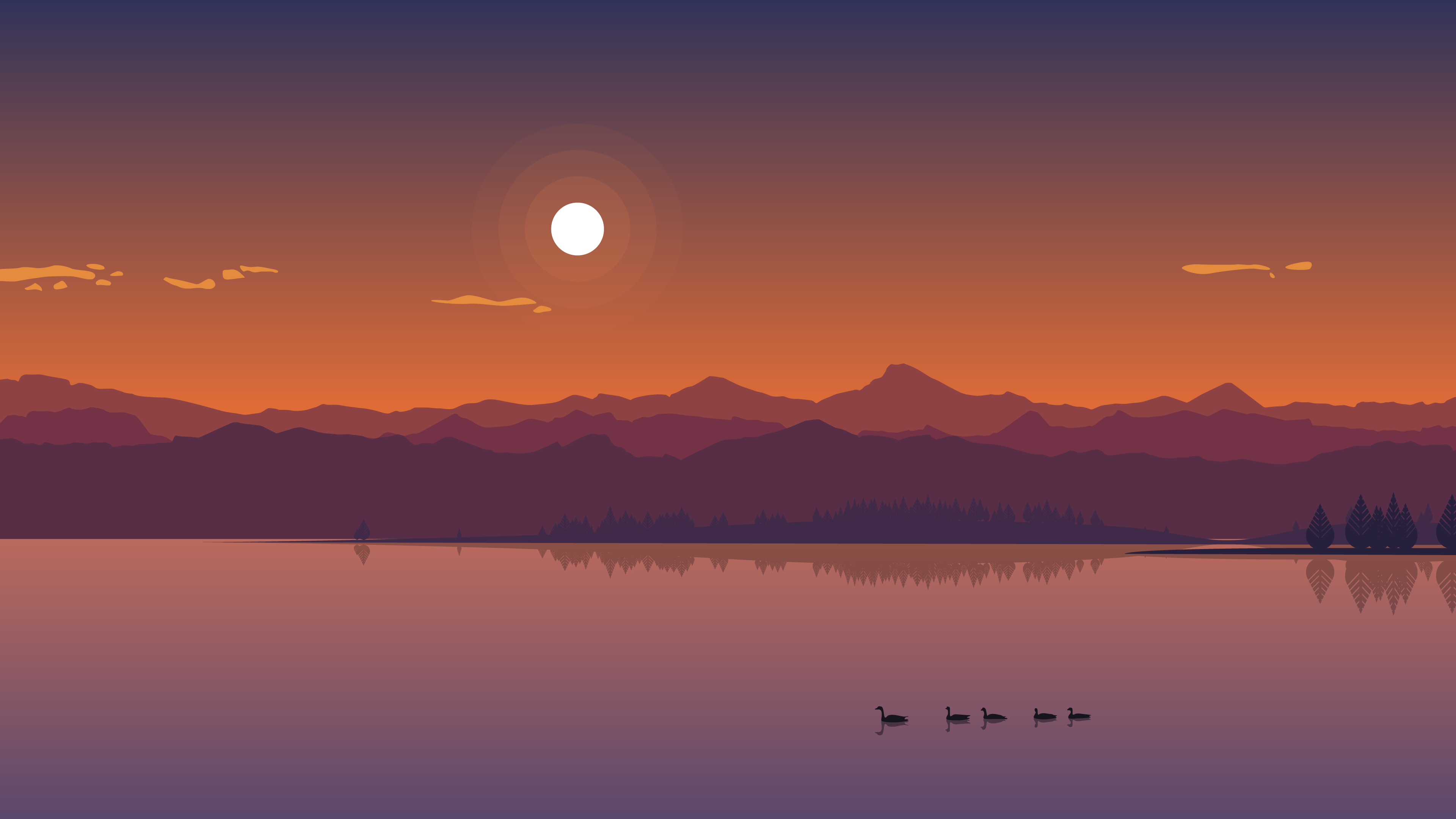 2880x1800 Minimal Lake Sunset Macbook Pro Retina Hd 4k Wallpapers