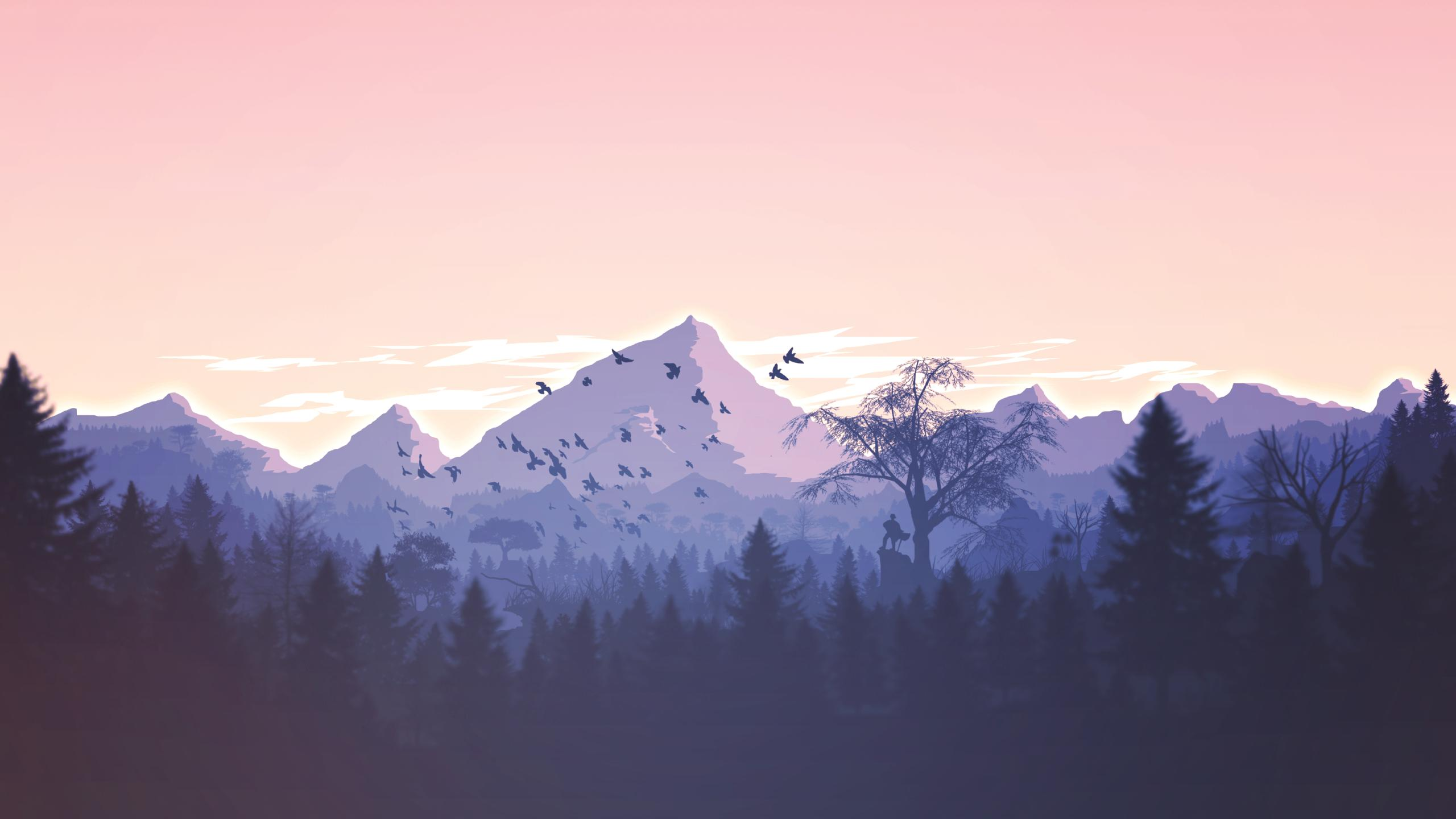 Minimalism Birds Mountains Trees Forest, HD Artist, 4k