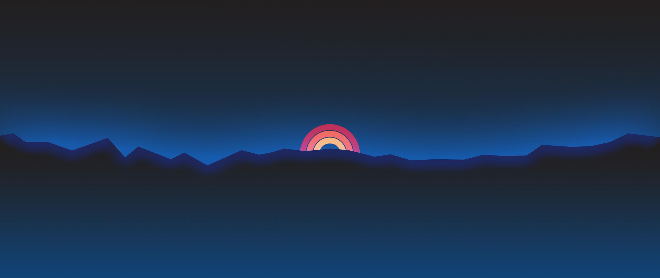 Minimalism Neon Rainbow Sunset Retro Style Hd Artist 4k