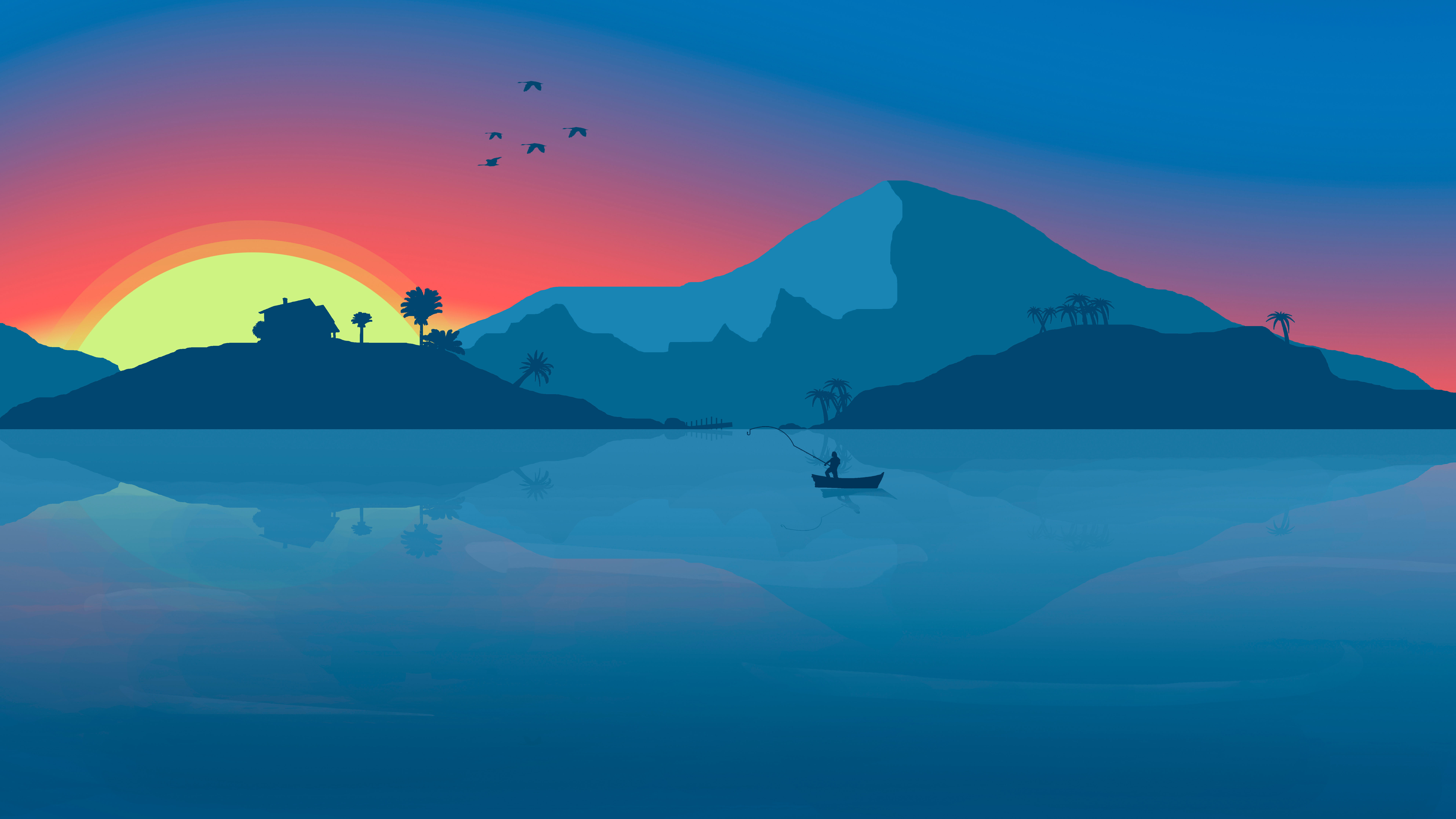 Minimalist Beach Boat Mountains Sunset Birds 8k Hd Artist 4k