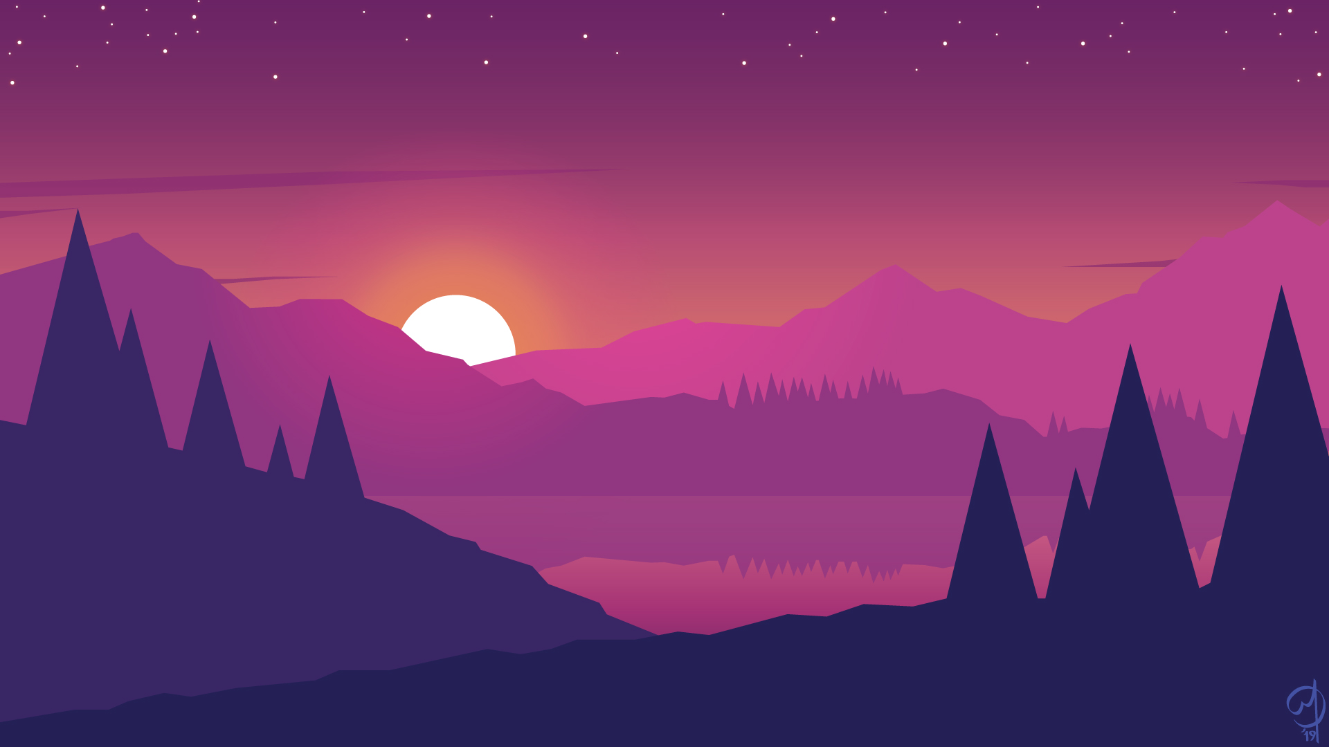 1920x1080 Minimalist Mountains Landscape Scenery Laptop Full