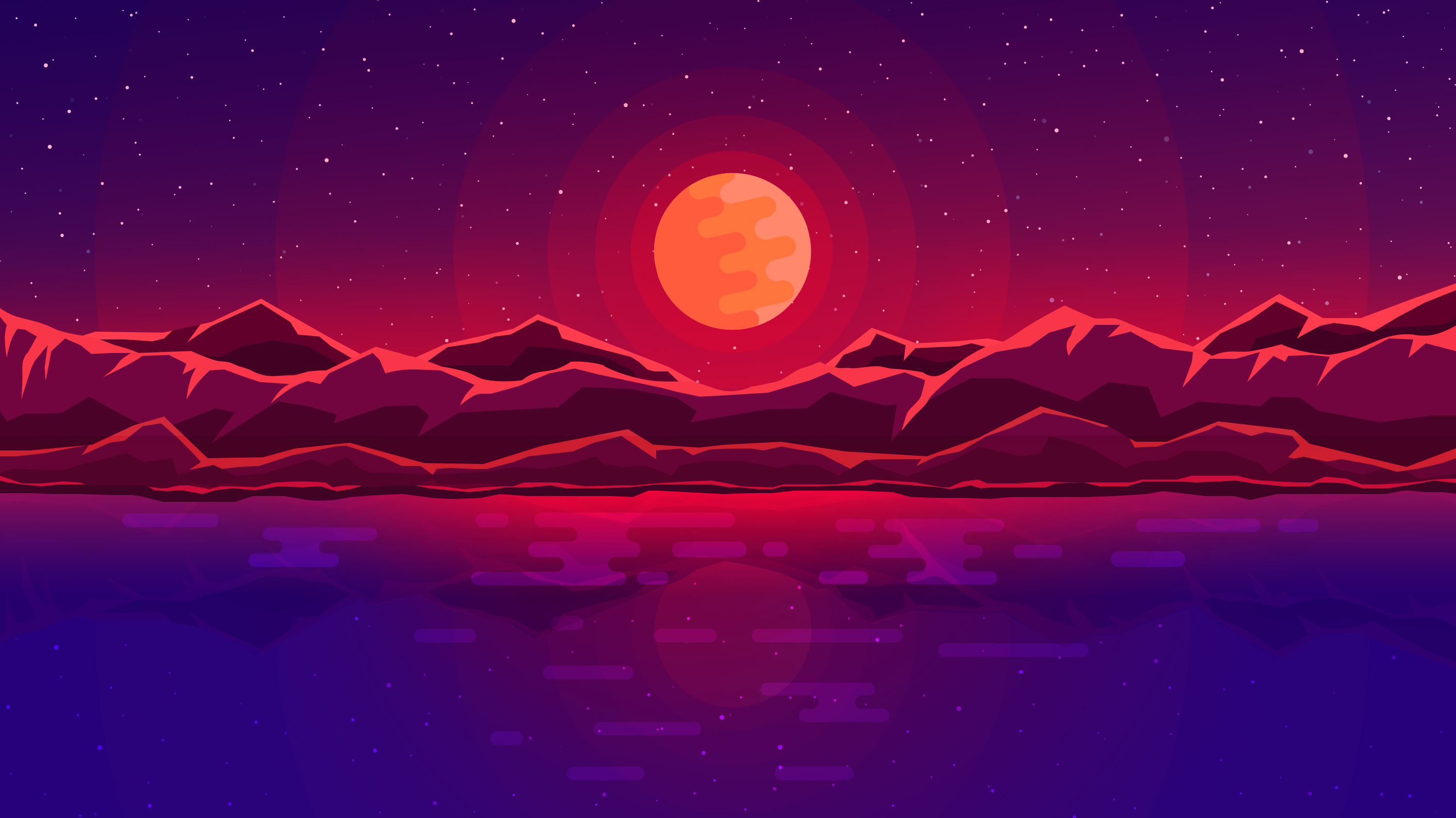 1920x1080 moon rays red space sky abstract mountains - Abstract space wallpaper ...