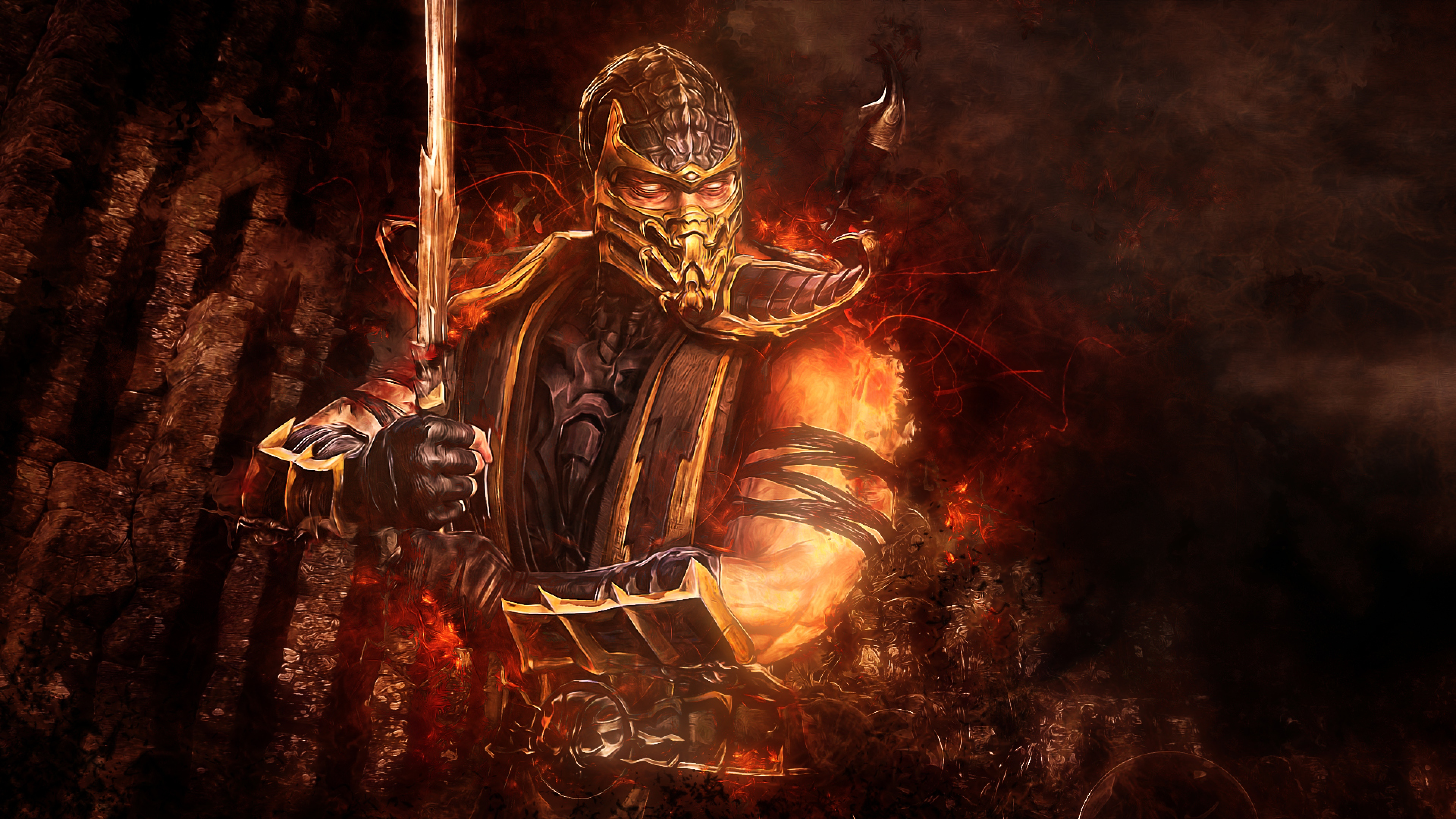 mortal kombat scorpion, hd games, 4k wallpapers, images, backgrounds