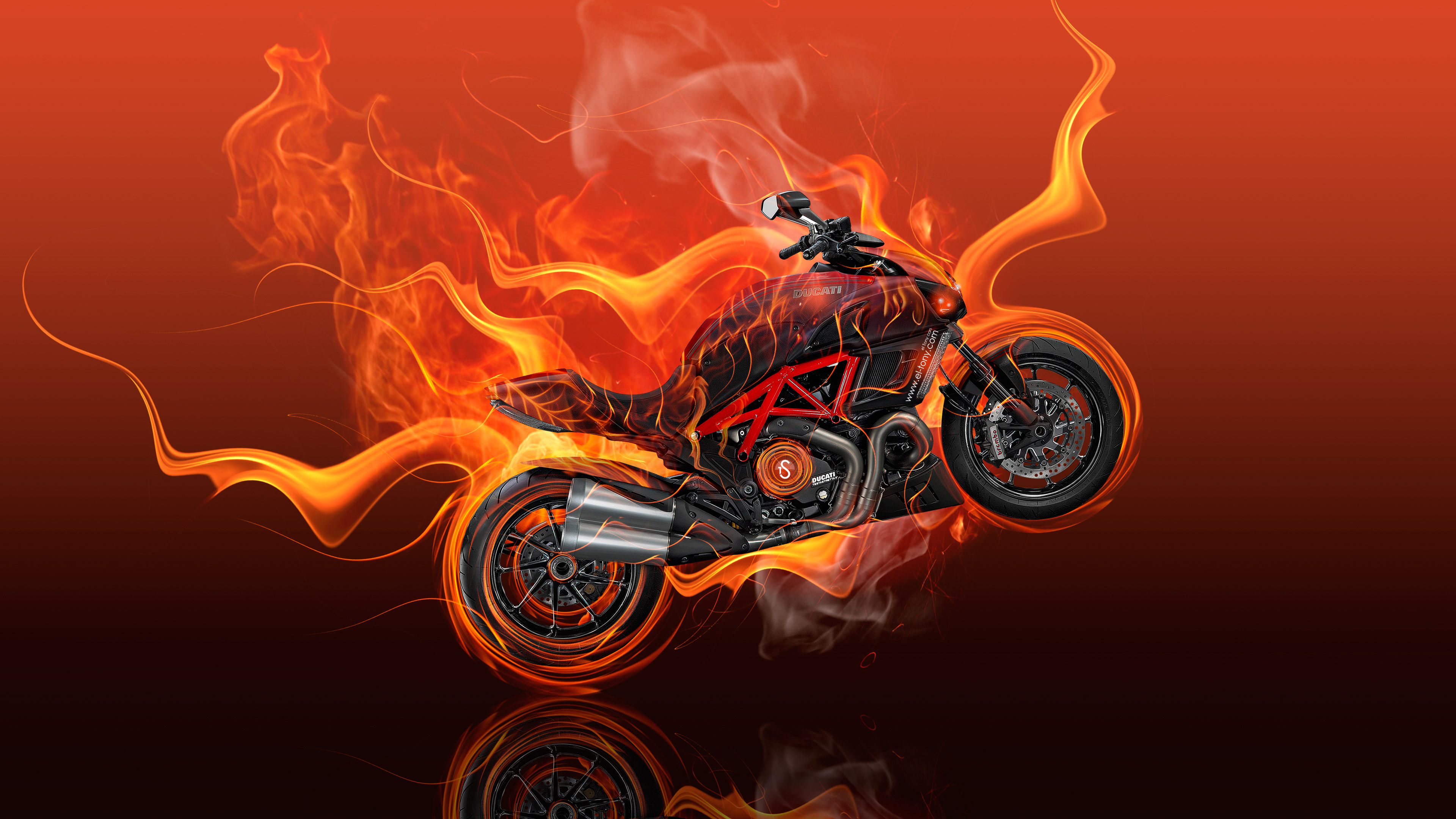 Moto Ducati Diavel Flame Hd Artist 4k Wallpapers Images