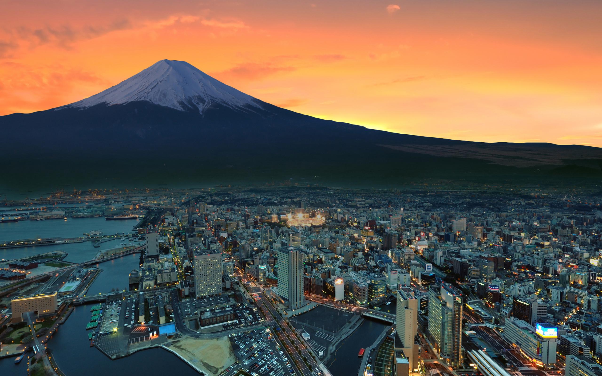Mount Fuji Snowy Peak Japan Sunset City