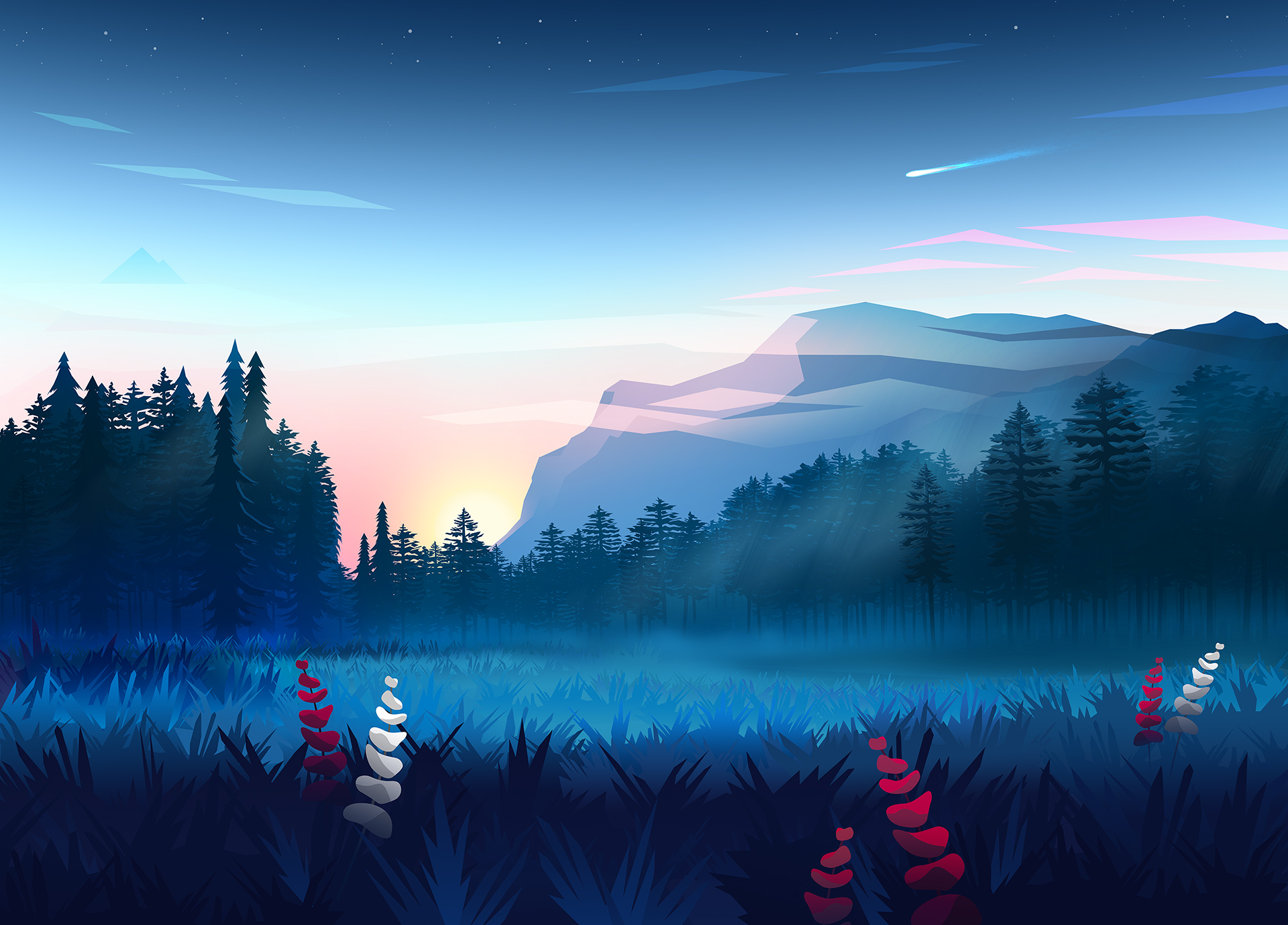 Mountains Digital Art Minimalist, HD Artist, 4k Wallpapers ...