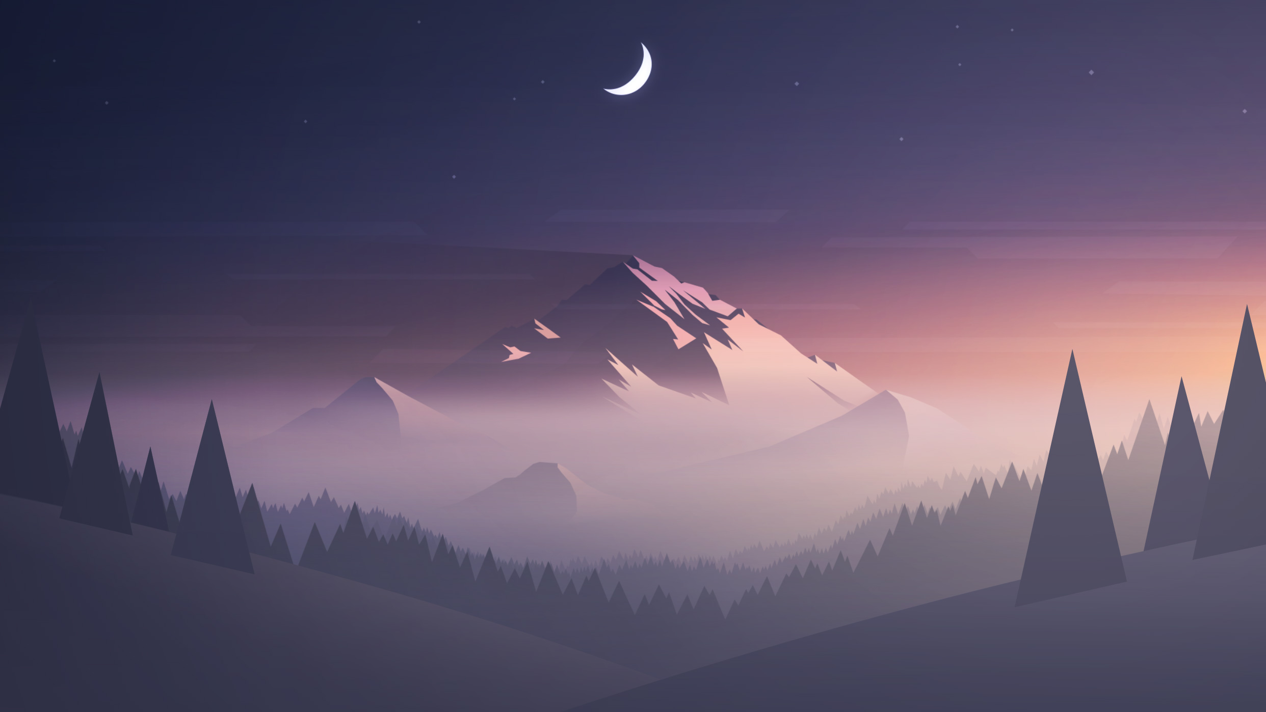 Mountains Moon Trees Minimalism, HD Artist, 4k Wallpapers