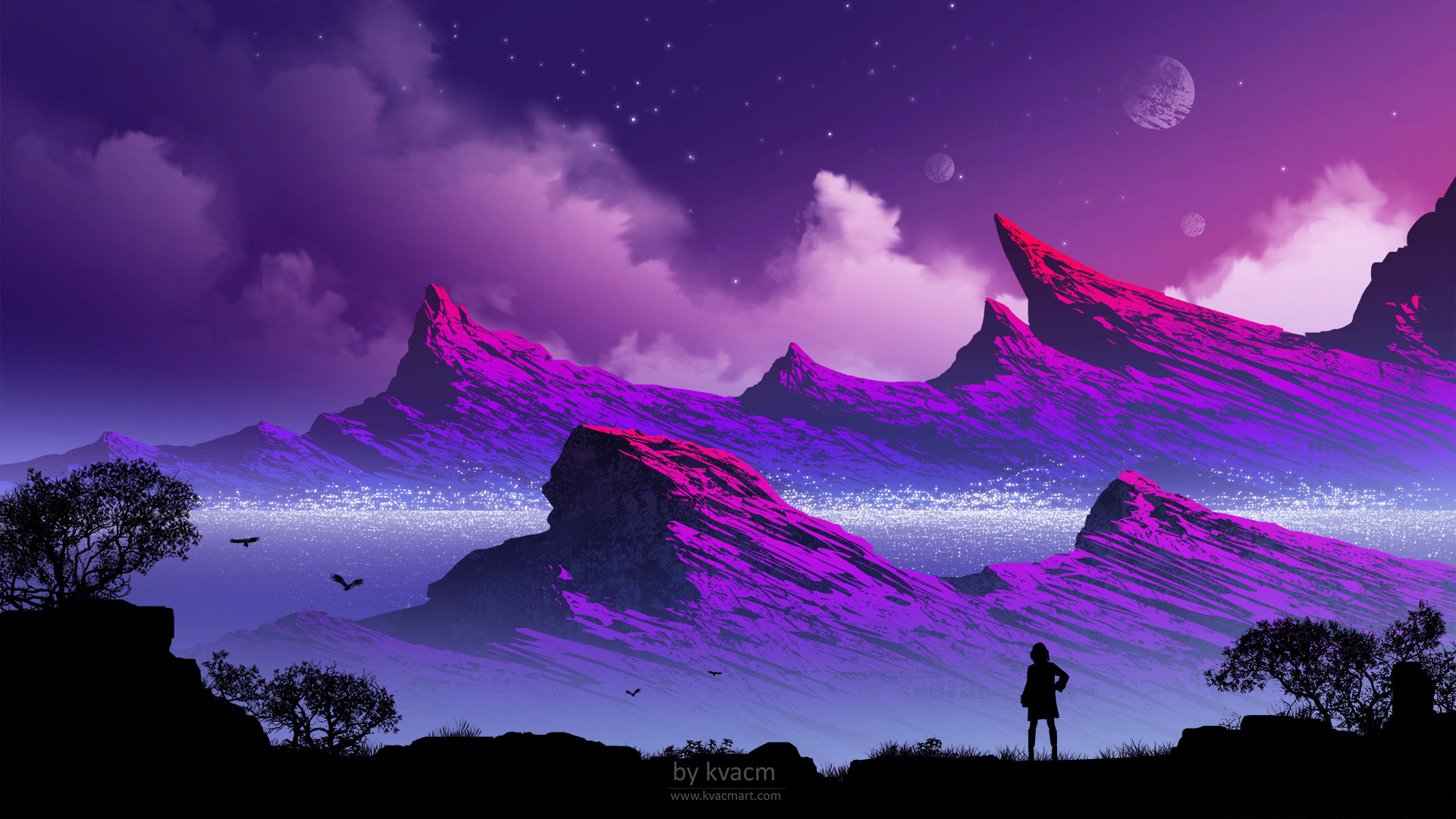 Mountains Person Illustration, HD Artist, 4k Wallpapers, Images, Backgrounds, Photos and Pictures