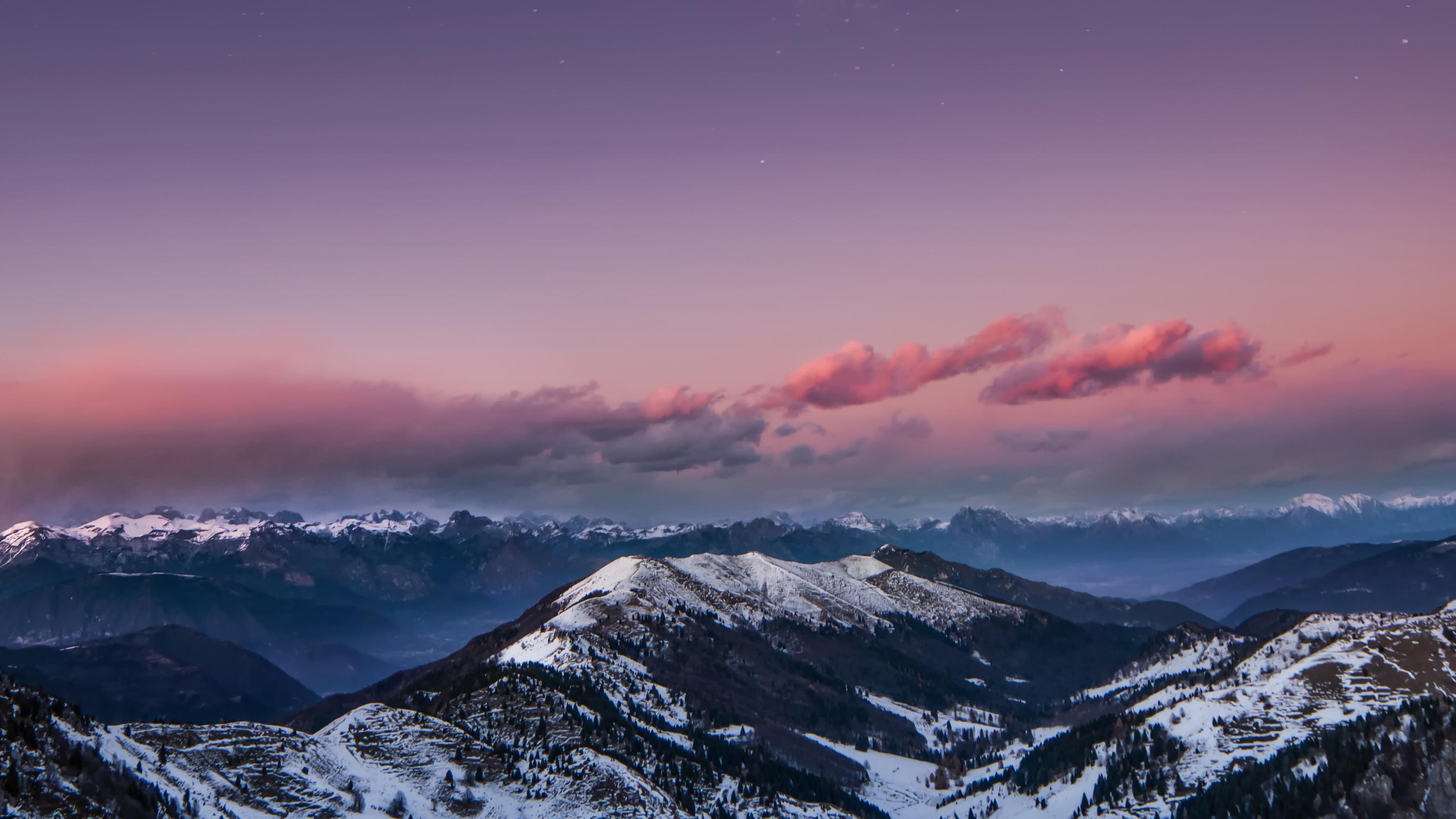 Mountains starry sky night snow dolomites italy 4k hd - Night mountain wallpaper 4k ...