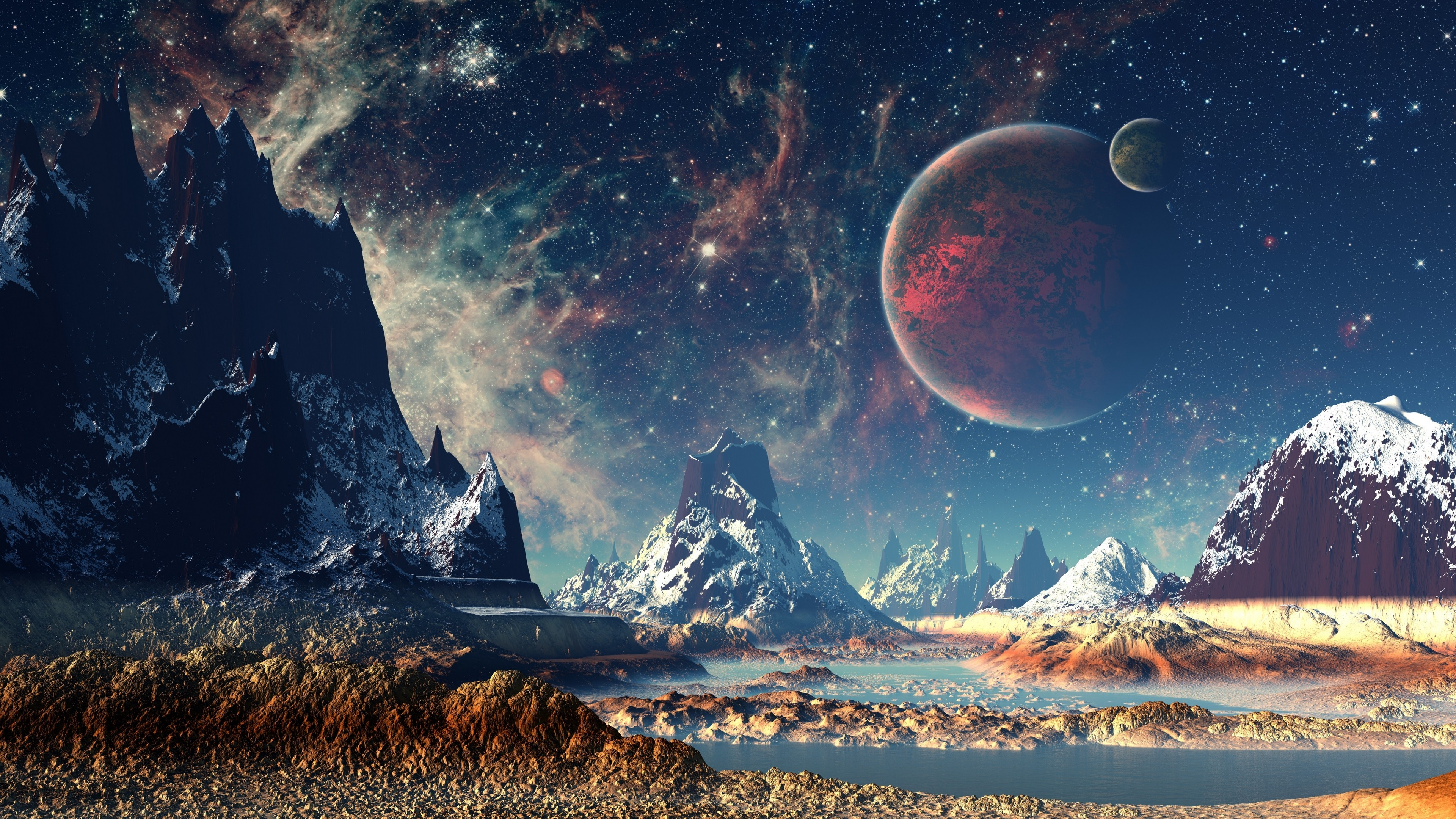 Mountains stars space planets digital art artwork 4k hd - 4k resolution space wallpaper ...