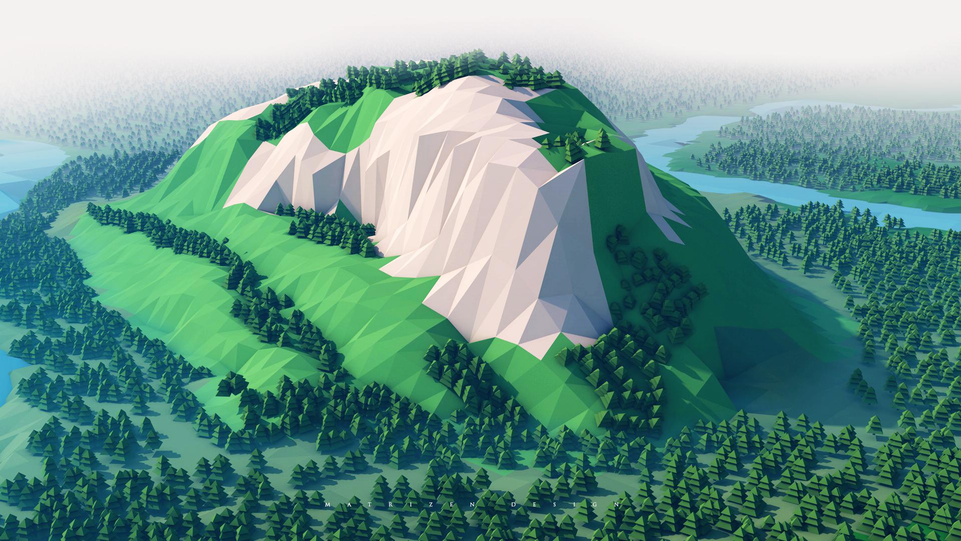 Minimalism Mountain Peak Full Hd Wallpaper: 1280x720 Mountains Trees Forest 3d Minimalism 720P HD 4k