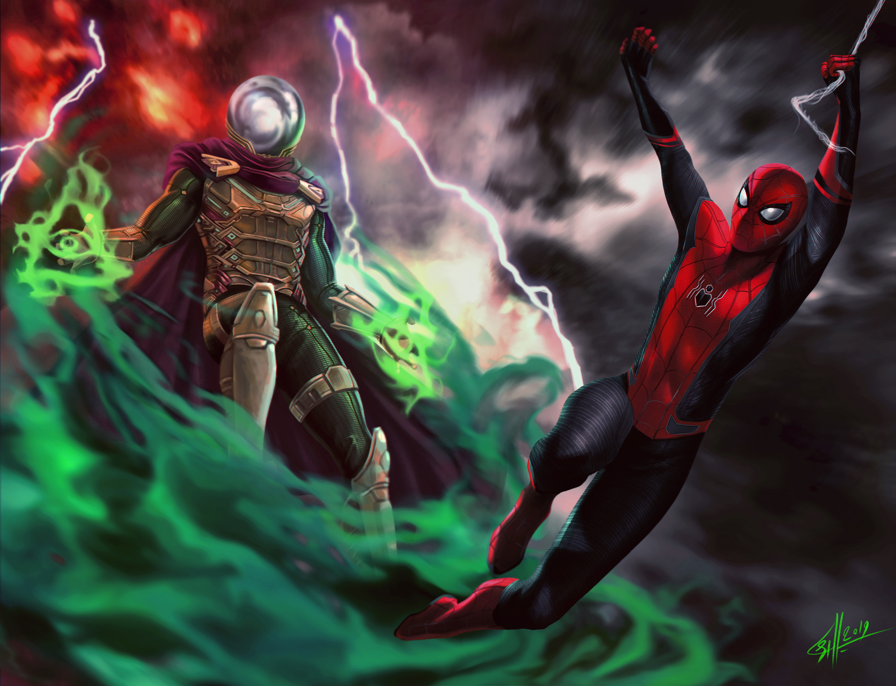 Mysterio And Spiderman Far From Home Hd Superheroes 4k