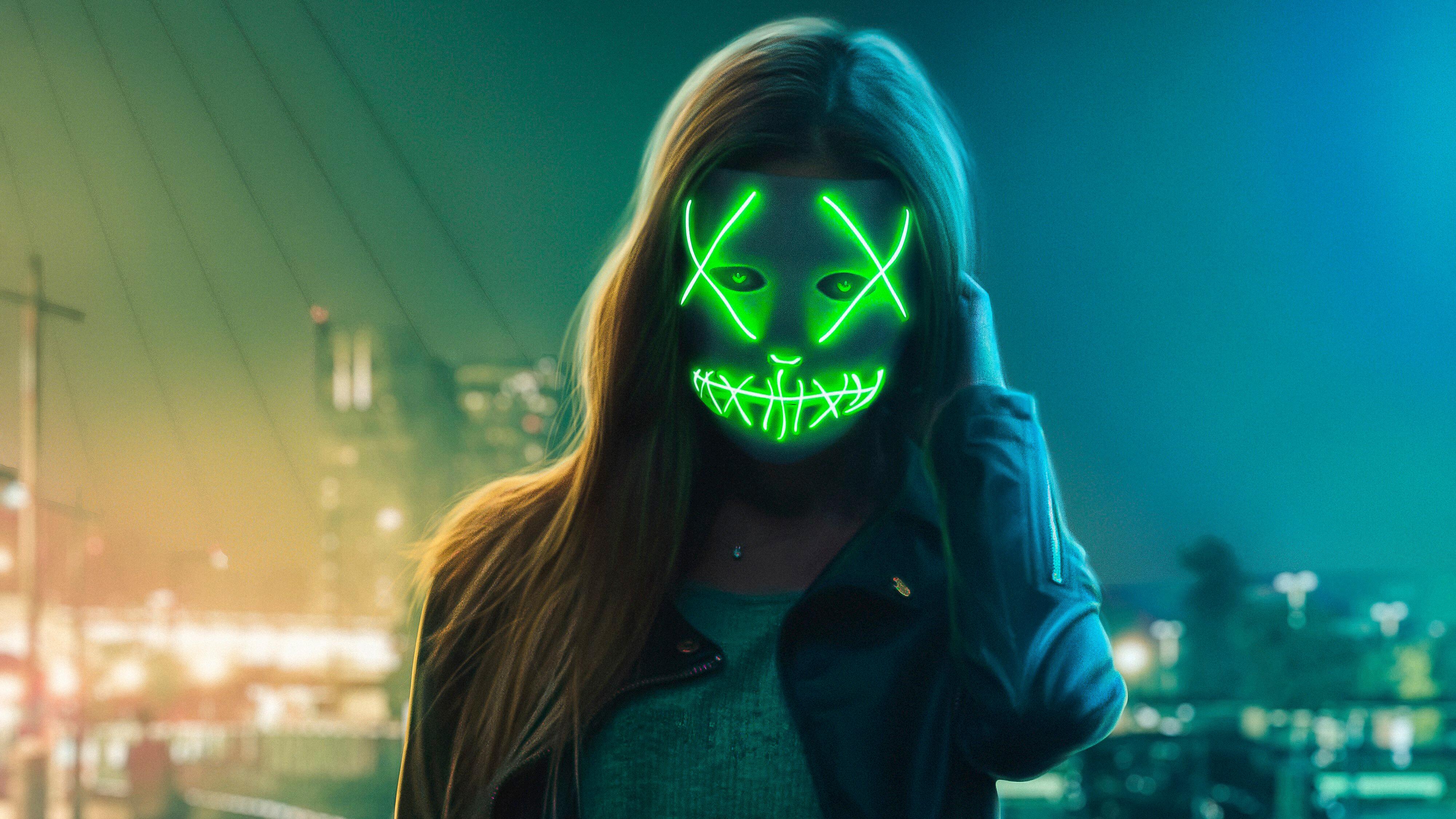 Neon Eye Mask Girl, HD Artist, 4k Wallpapers, Images ...
