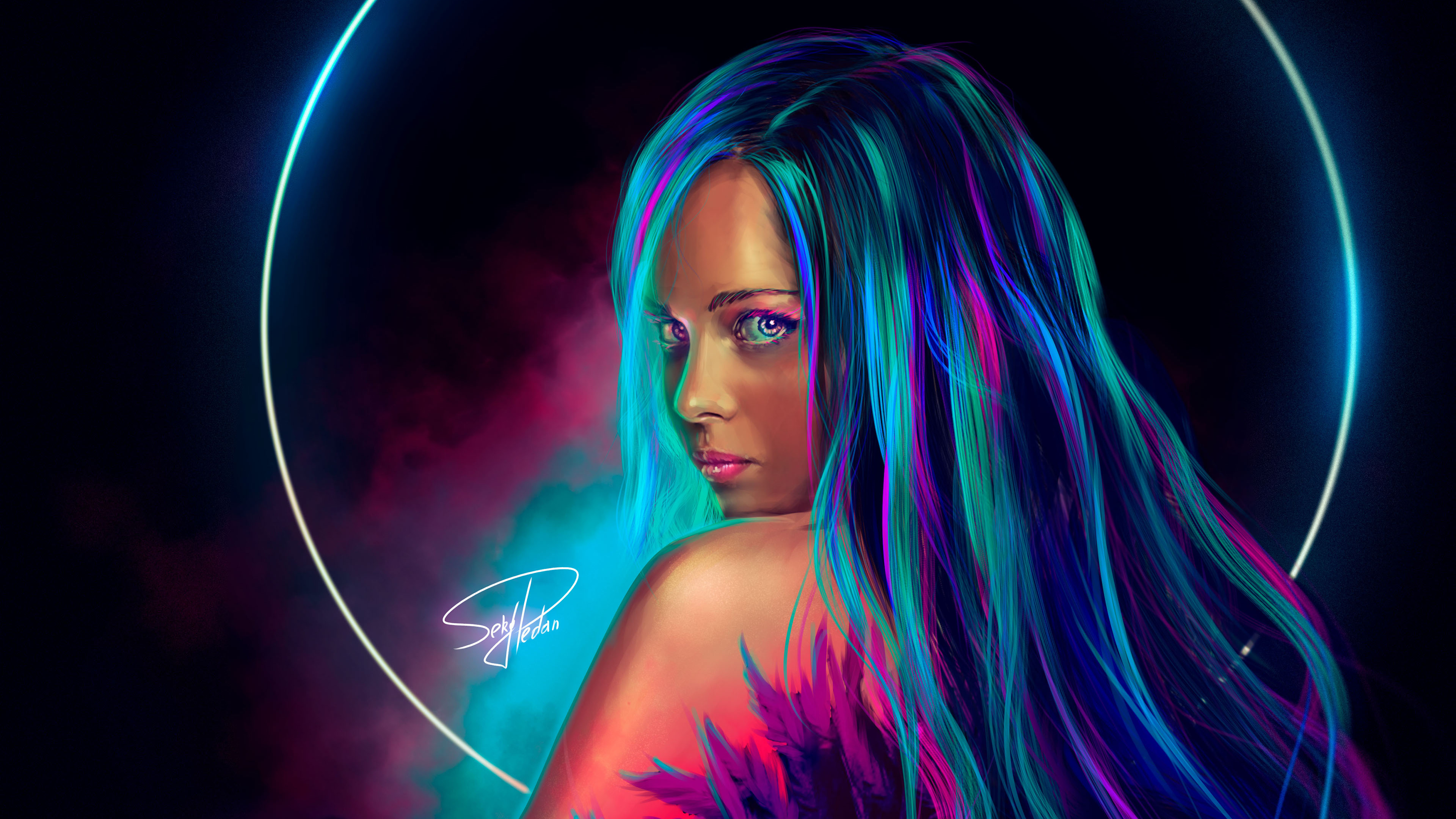 Neon Girl Digital Art Hd Artist 4k Wallpapers Images